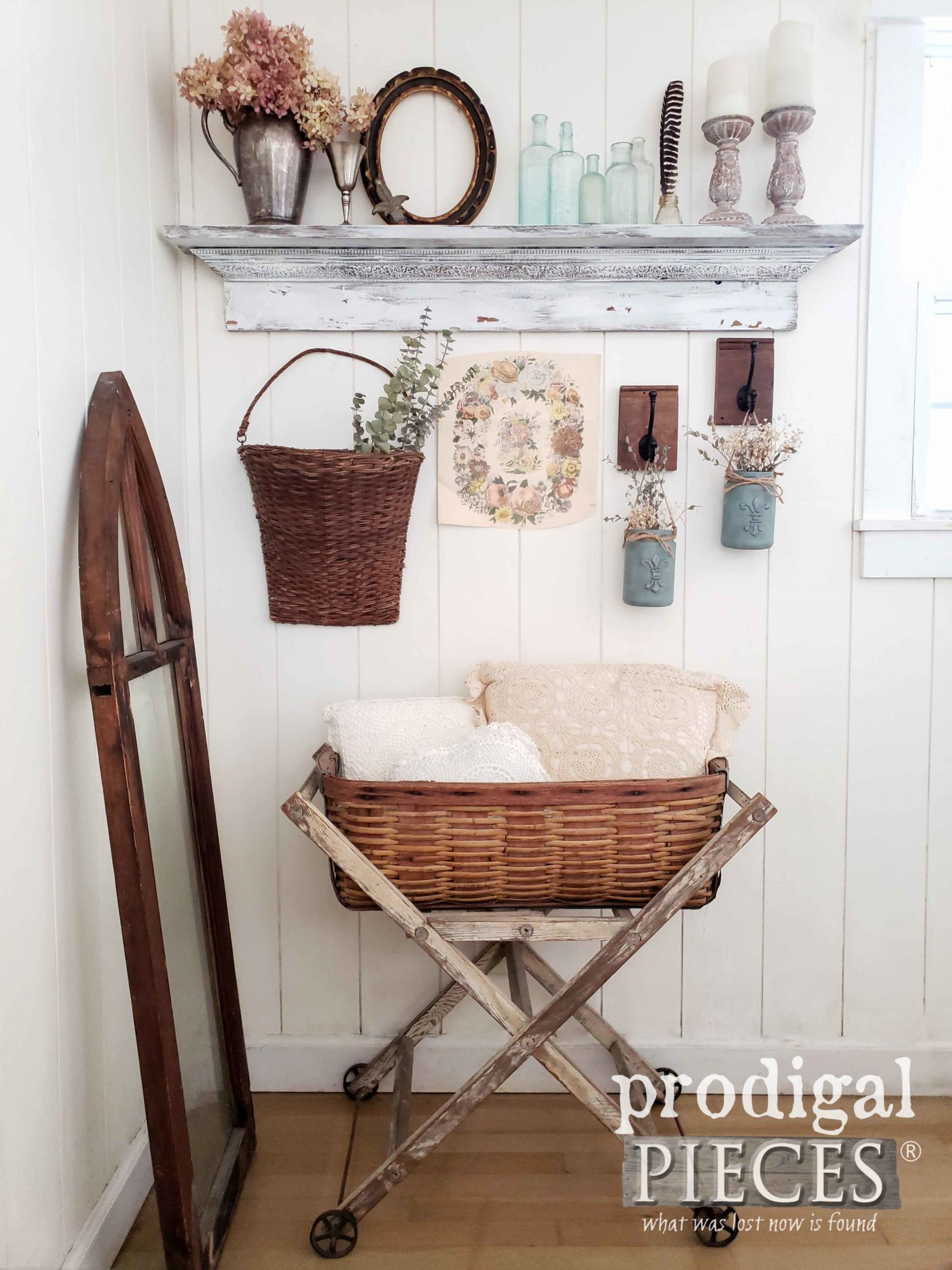 You can create this vintage vignette too! Farmhouse Style Decor Ideas at Prodigal Pieces | prodigalpieces.com