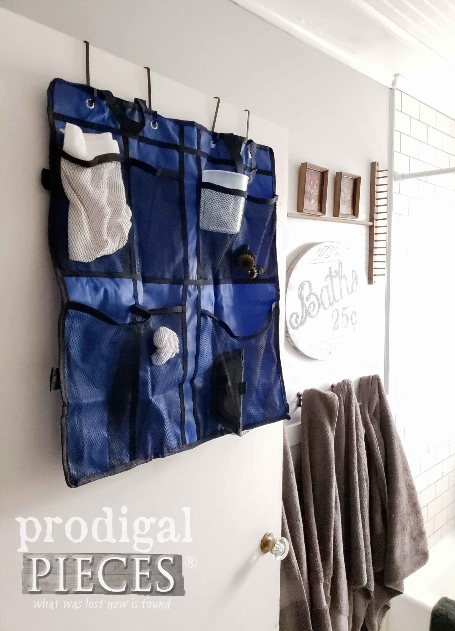 HomeRight Accessory Bag Hanging on Bathroom Door | prodigalpieces.com