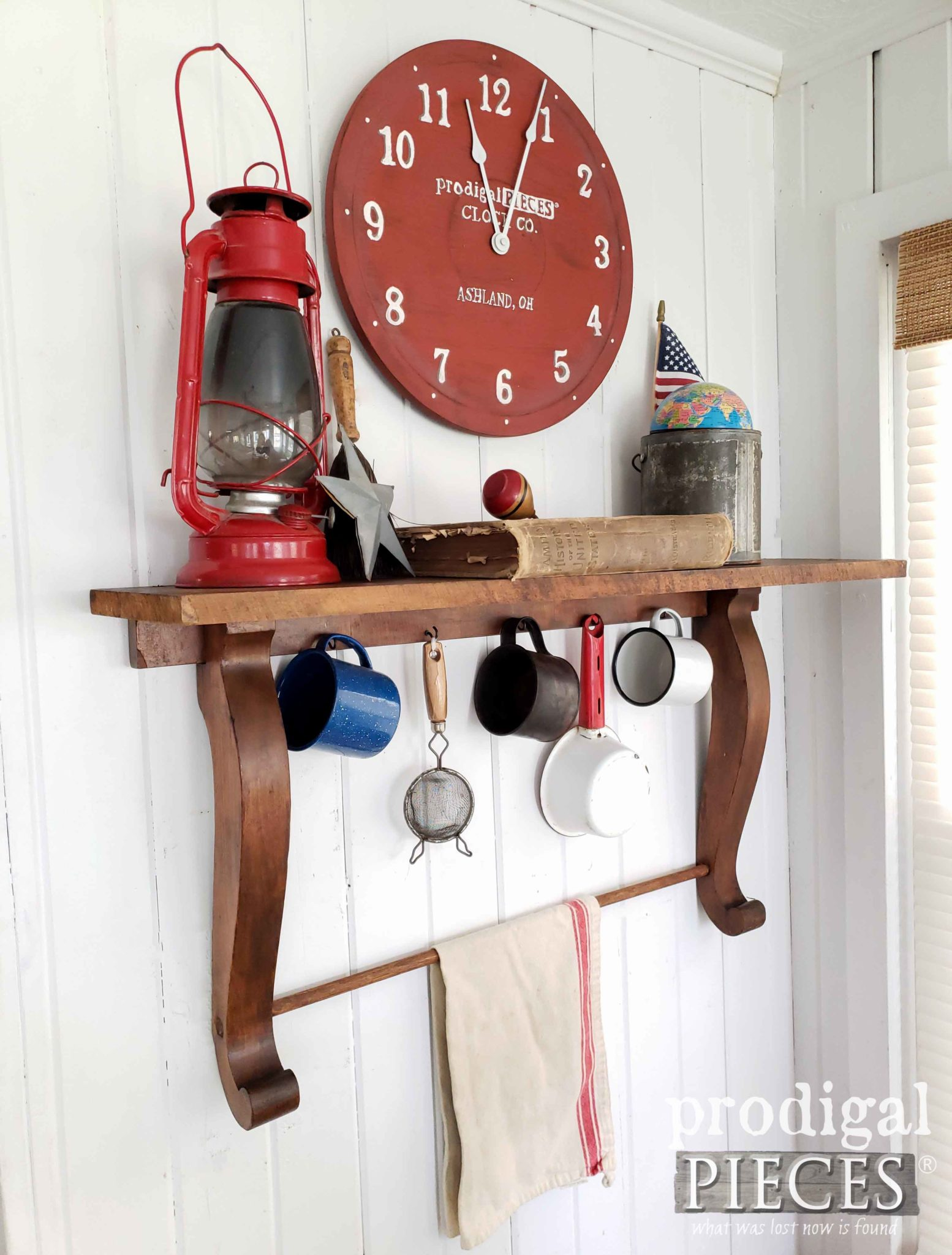 Americana Farmhouse Style Repurposed Wall Clock and Mirror Harp Shelf by Larissa of Prodigal Pieces | prodigalpieces.com