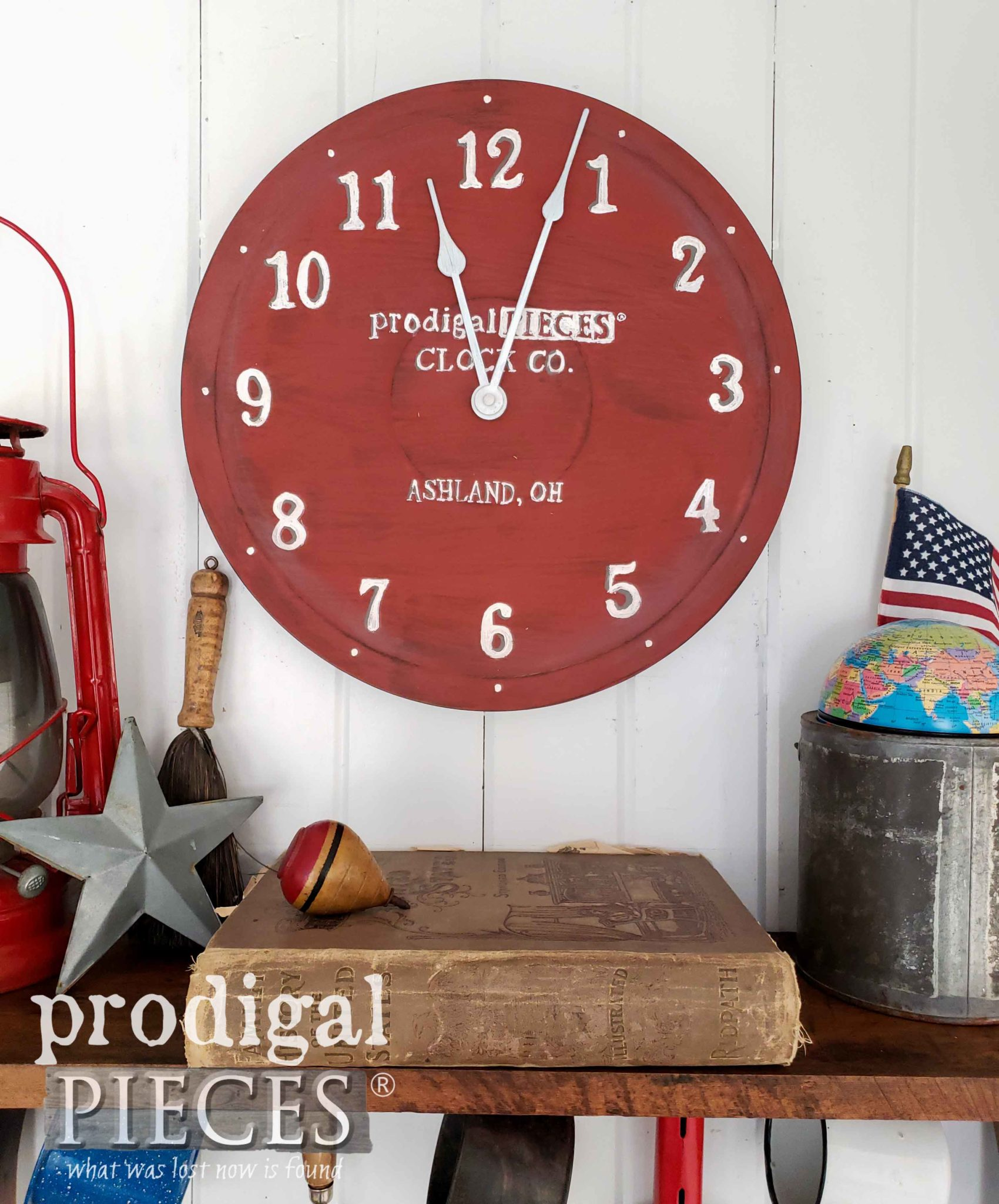 Farmhouse Style Americana Wall Clock Created by Larissa of Prodigal Pieces | prodigalpieces.com