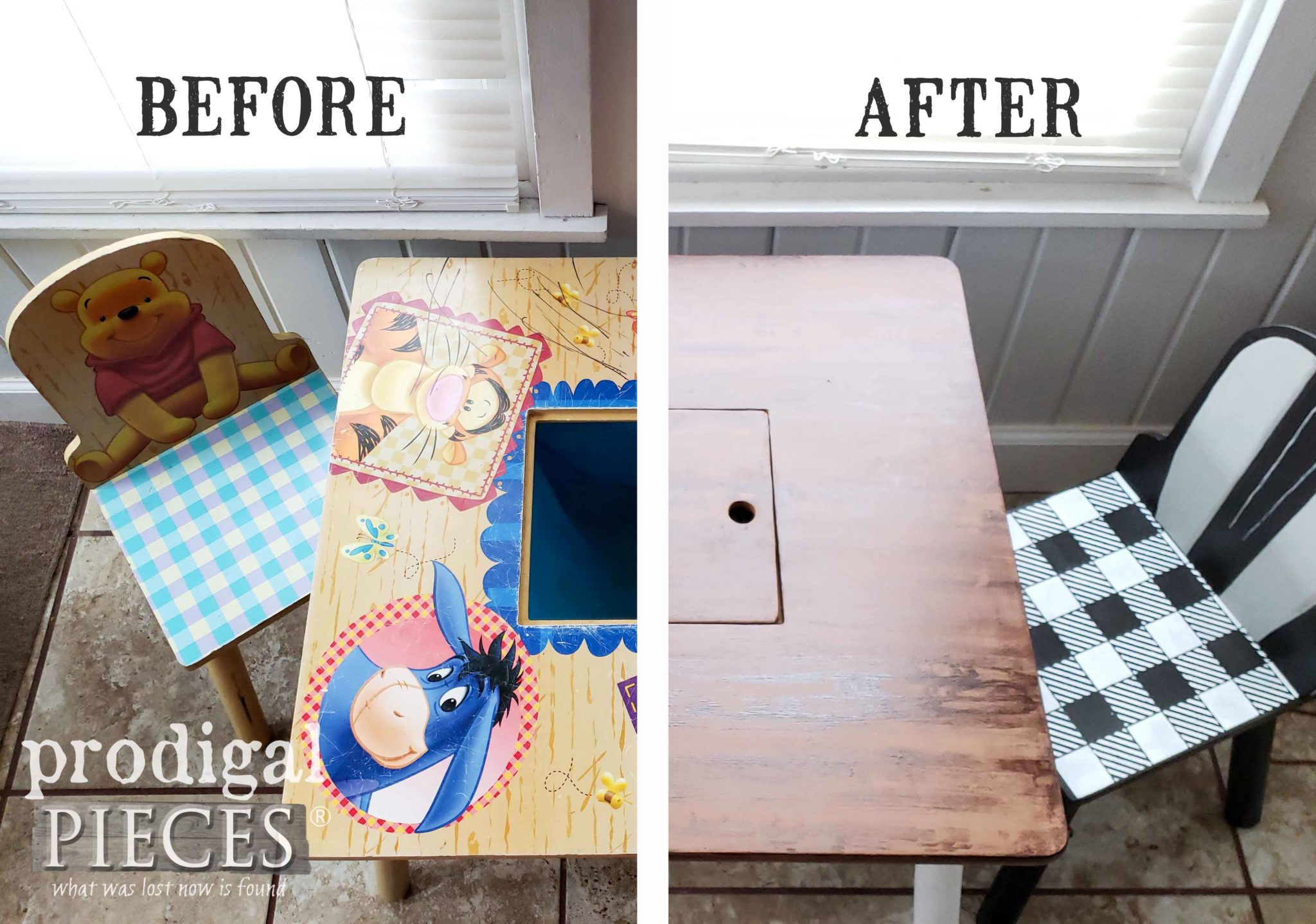Before & After of Winnie the Pooh Kids Play Table Makeover by Larissa of Prodigal Pieces | DIY Video Tutorial at prodigalpieces.com