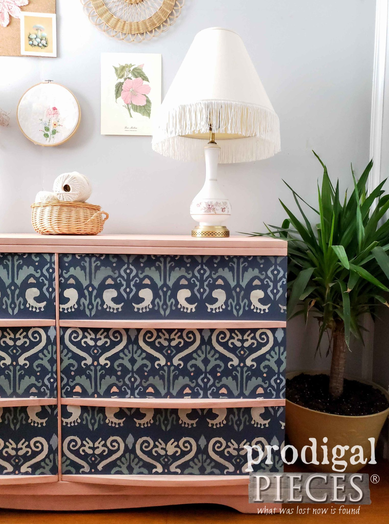 Blue and Blush Pink Boho Style Dresser with Ikat Design by Larissa of Prodigal Pieces | prodigalpieces.com