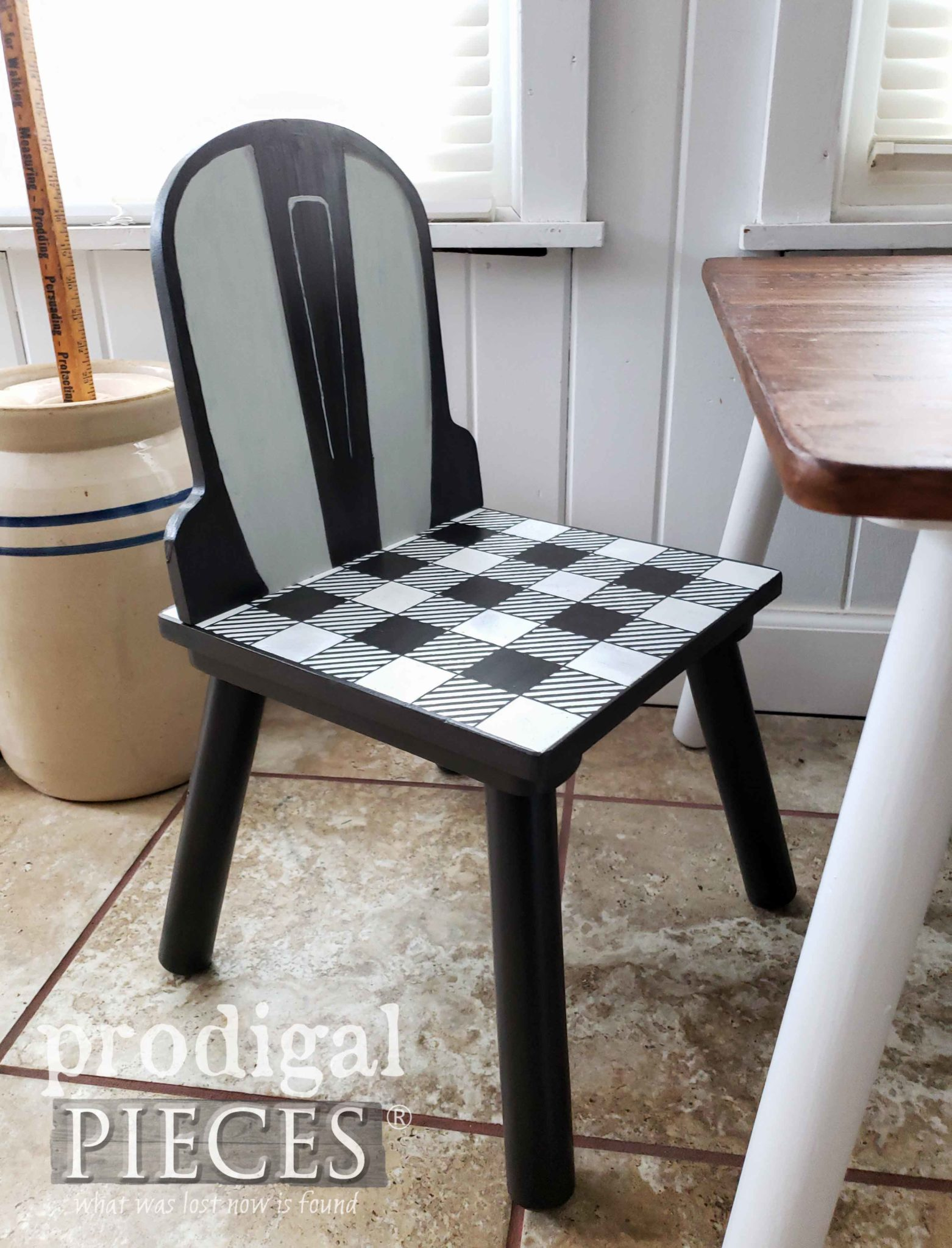 Adorable Buffalo Check Child's Chair for Modern Farmhouse Play Table by Larissa of Prodigal Pieces | prodigalpieces.com