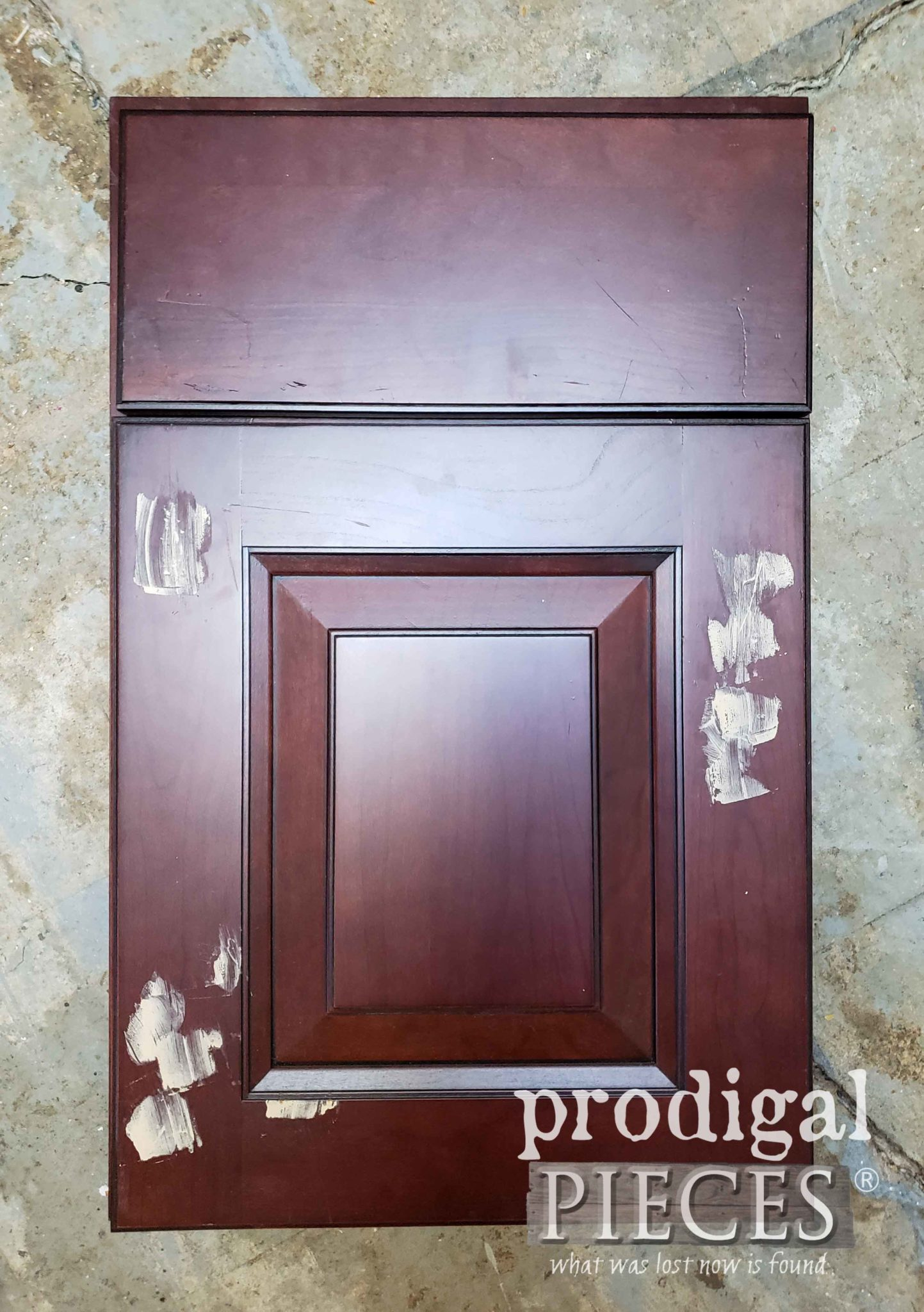 Cherry Cupboard Door Sample Before Makeover by Prodigal Pieces | prodigalpieces.com