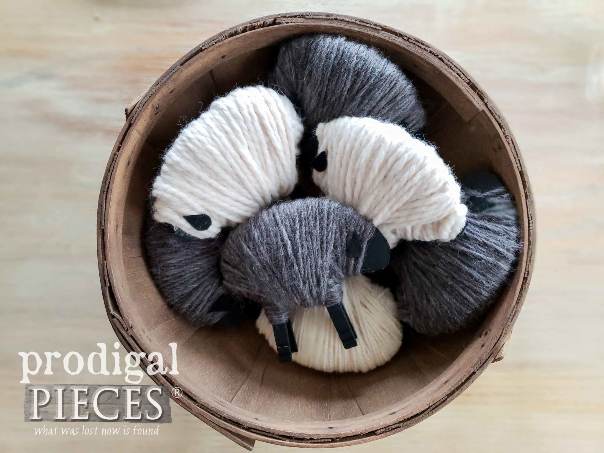 Wooden Farmhouse Bowl of Woolly Clothespin Sheep | Tutorial by Larissa of Prodigal Pieces | prodigalpieces.com