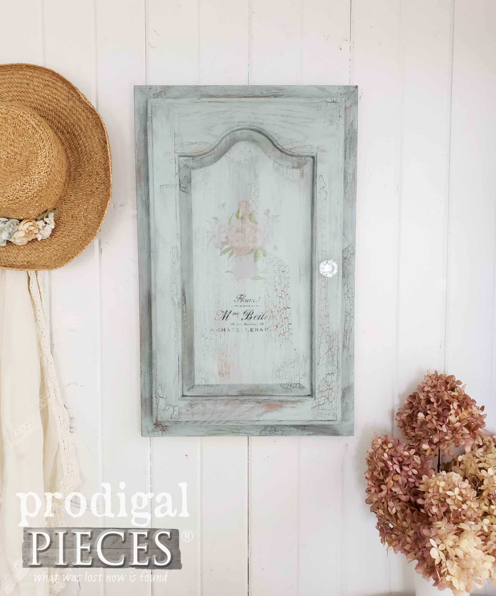 Cottage Style Jewelry Cabinet with The Graphics Fairy Typography by Larissa of Prodigal Pieces | prodigalpieces.com