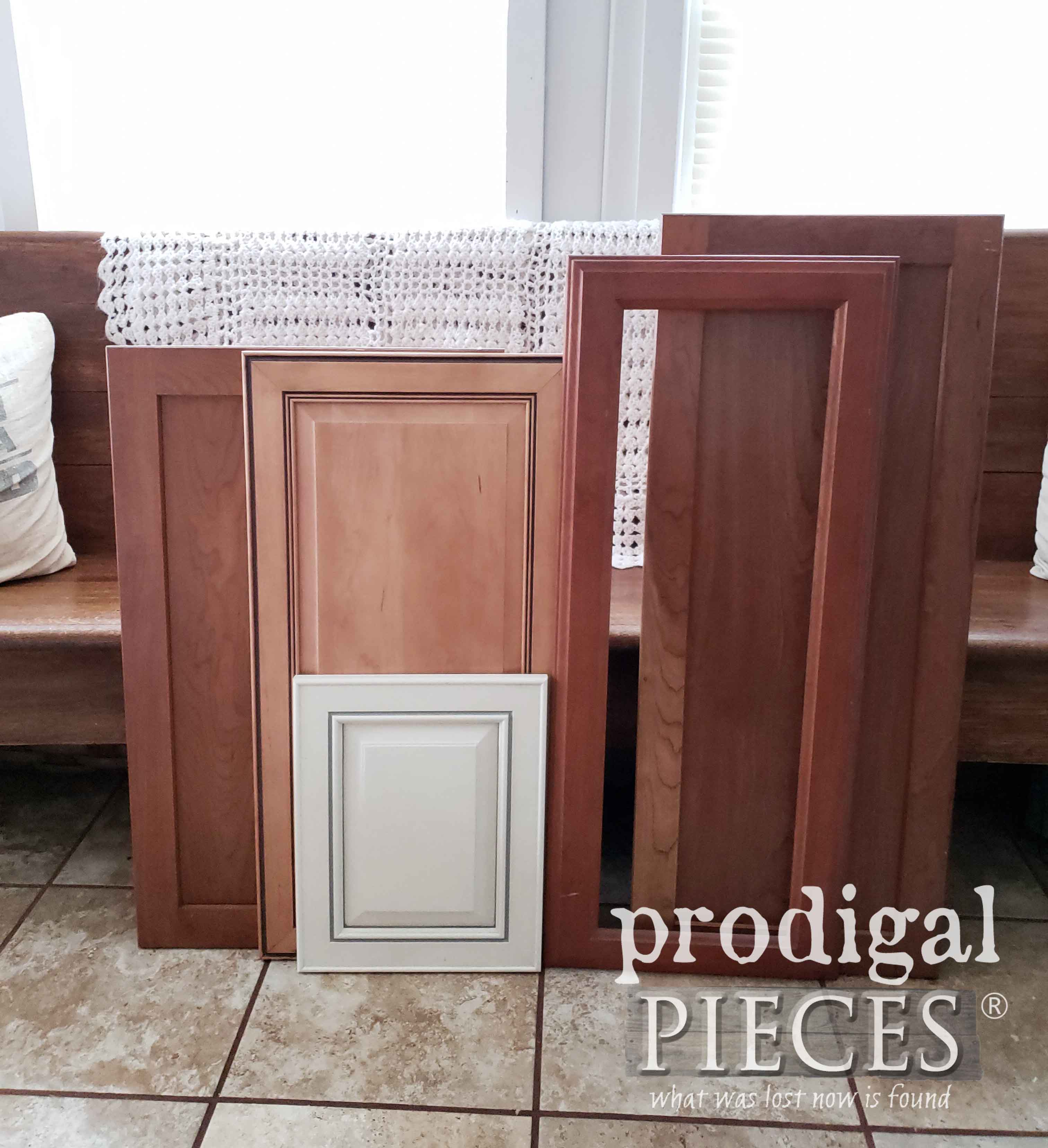 Salvaged Cupboard Doors Before Makeover by Kids | prodigalpieces.com