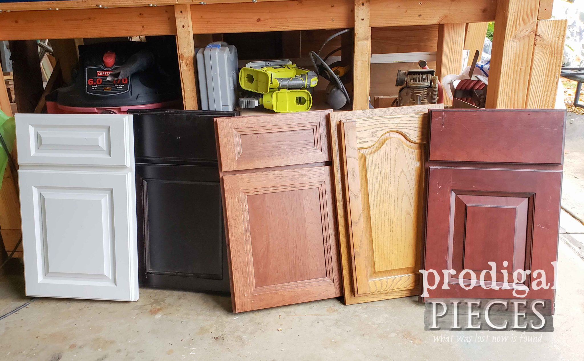 Set of Cupboard Door Samples Before Makeover by Prodigal Pieces | prodigalpieces.com