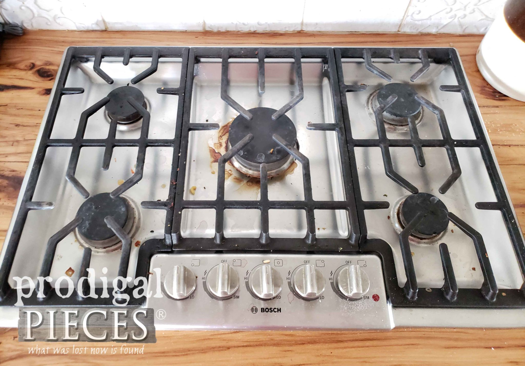 Dirty Cooktop Before Steam Cleaning | prodigalpieces.com