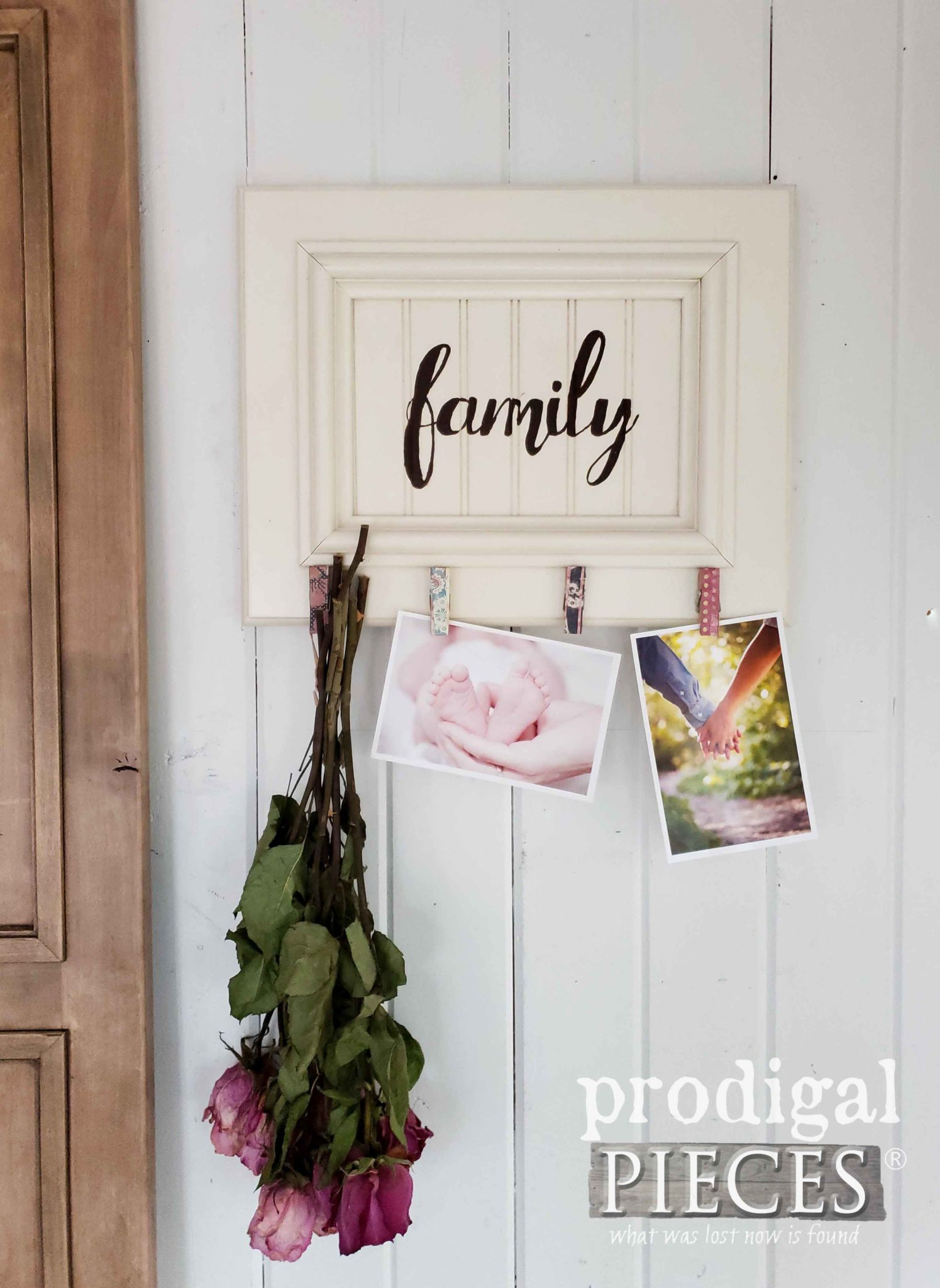 DIY Family Photo Holder from Upcycled Cupboard Door by Prodigal Pieces Kids Create | prodigalpieces.com