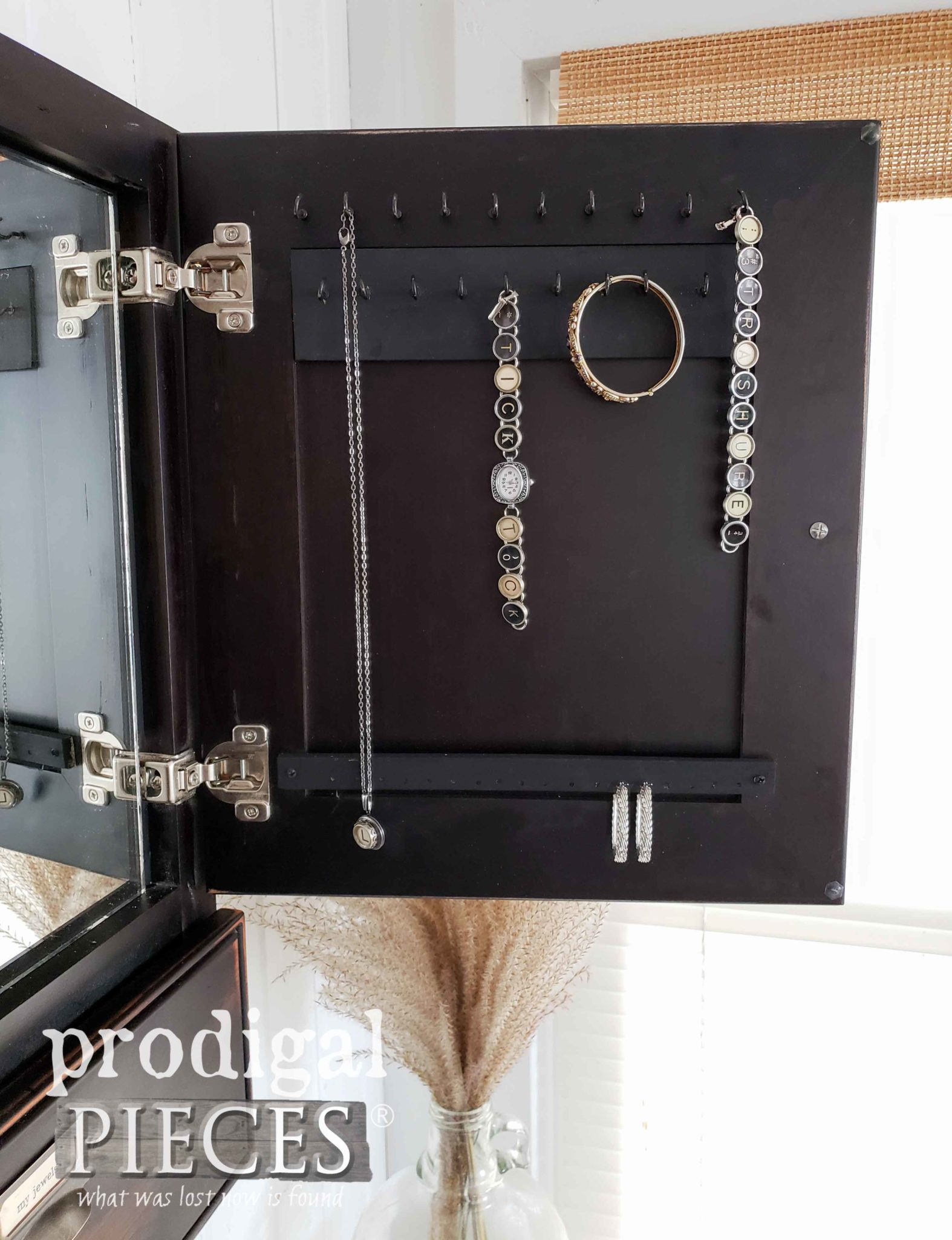 DIY Jewelry Cupboard in Vintage Black by Larissa of Prodigal Pieces | prodigalpieces.com