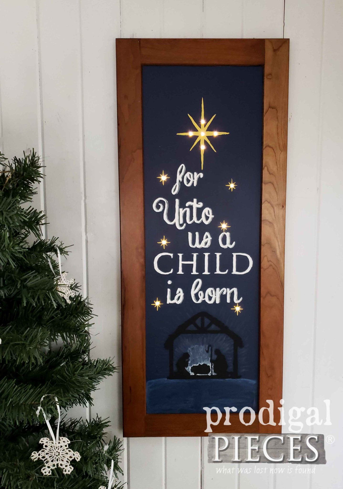 DIY Nativity Wall Art Made from Upcycled Cupboard Door by Prodigal Pieces Kids Create | prodigalpieces.com