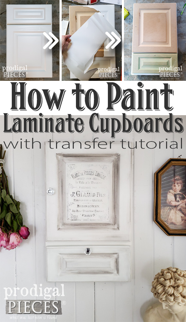 Got awful laminate cabinets? No worries! This easy step-by-step tutorial on how to paint your laminate cupboards will have you fixed up in no time. DIY tutorial with easy image transfer technique at Prodigal Pieces | prodigalpieces.com #prodigalpieces #diy #kitchen #home #homedecor #homedecorideas #jewelry #gifts #giftideas