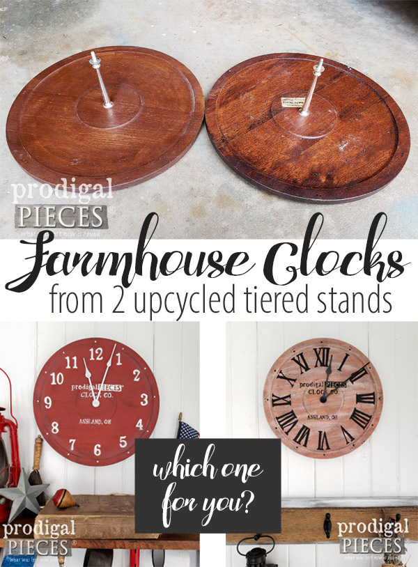 DIY Repurposed Wall Clock made from two broken vintage tiered stands. Upcycling Fun! Full details by Larissa at Prodigal Pieces | prodigalpieces.com #prodigalpieces #handmade #diy #farmhouse #home #homedecor #homedecorideas