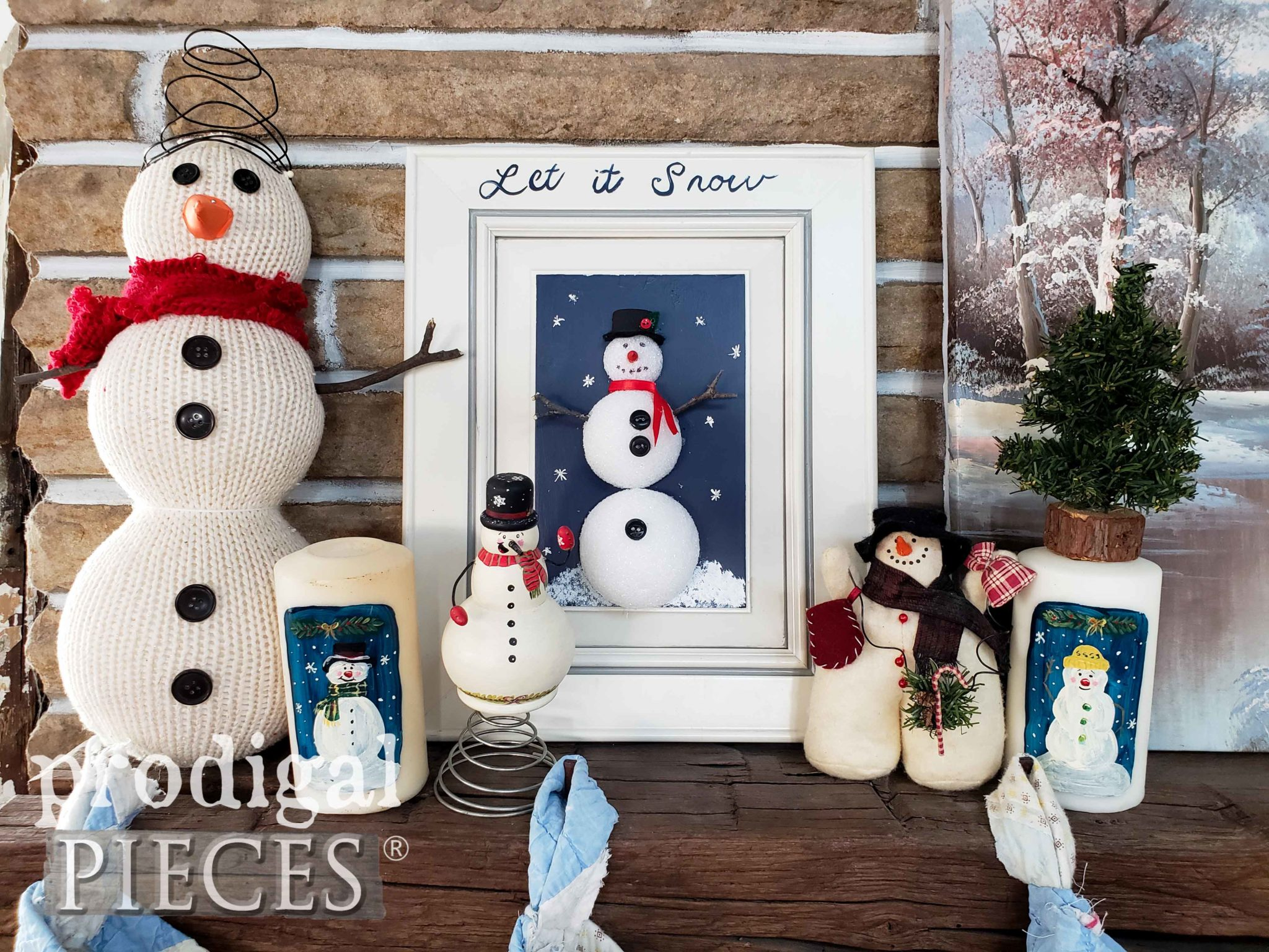 DIY Snowman Art from Upcycled Cupboard Door with Video Tutorial by Prodigal Pieces Kids Create | prodigalpieces.com
