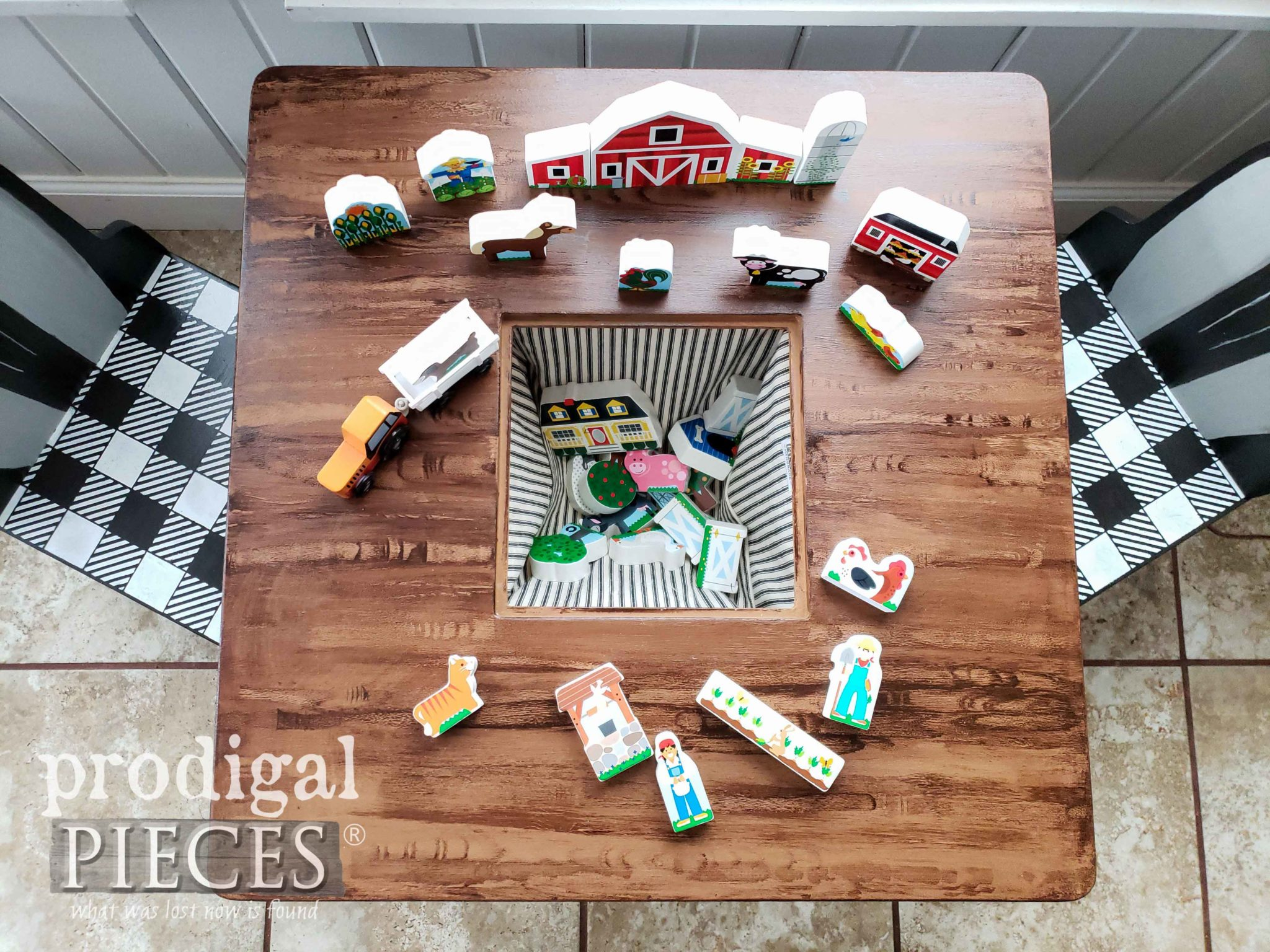 Inside Modern Farmhouse Kids Play Table Built-In Toy Bin by Larissa of Prodigal Pieces | prodigalpieces.com