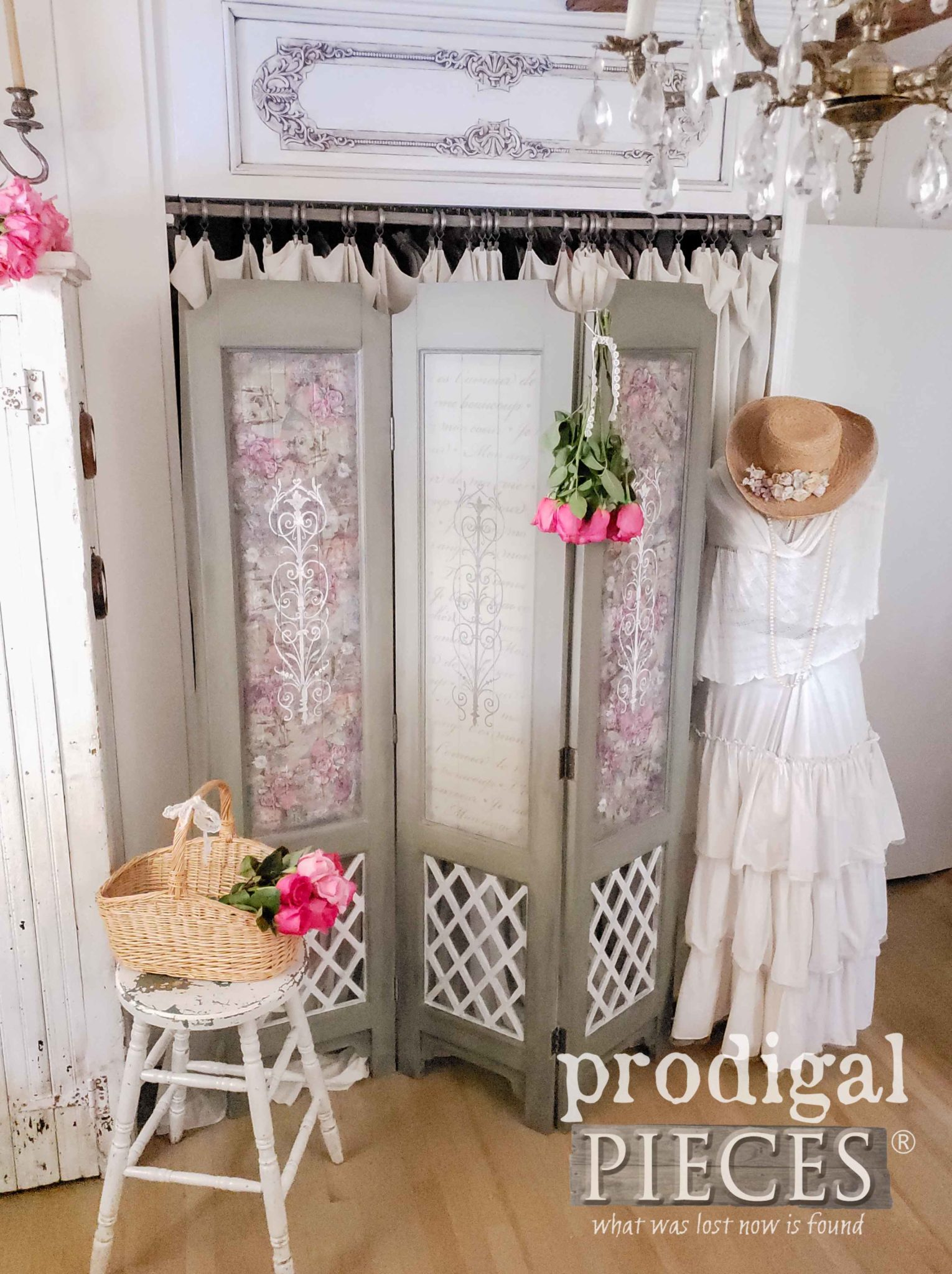 Farmhouse Romantic Chic Bedroom with Roses by Larissa of Prodigal Pieces | prodigalpieces.com