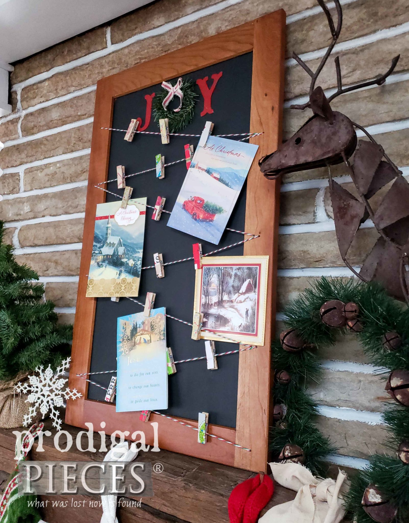 Farmhouse Style DIY Chalkboard Christmas Card Holder with Tutorial by Prodigal Pieces Kids Create | prodigalpieces.com