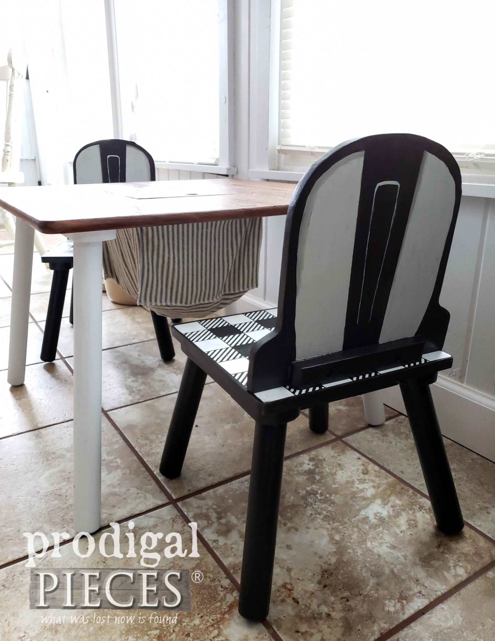 Pretend Play Kids Farmhouse Table and Chair Set with Buffalo Check Created by Larissa of Prodigal Pieces | prodigalpieces.com