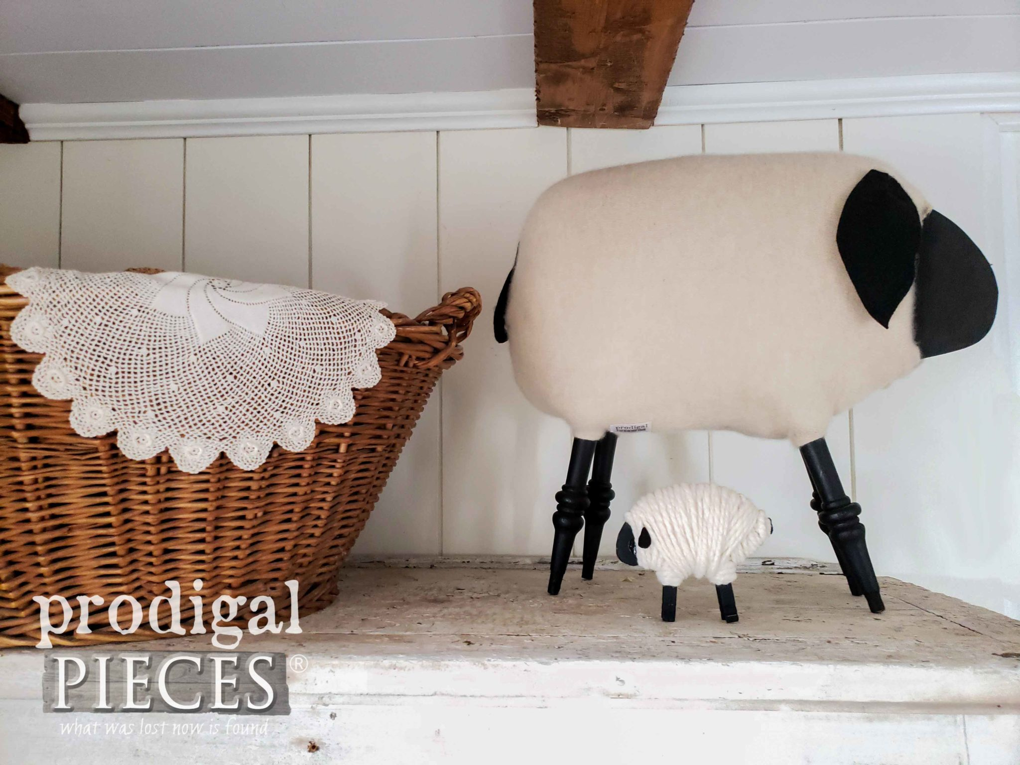Adorable Farmhouse Sheep Made from Repurposed Materials | DIY tutorials by Larissa of Prodigal Pieces | prodigalpieces.com