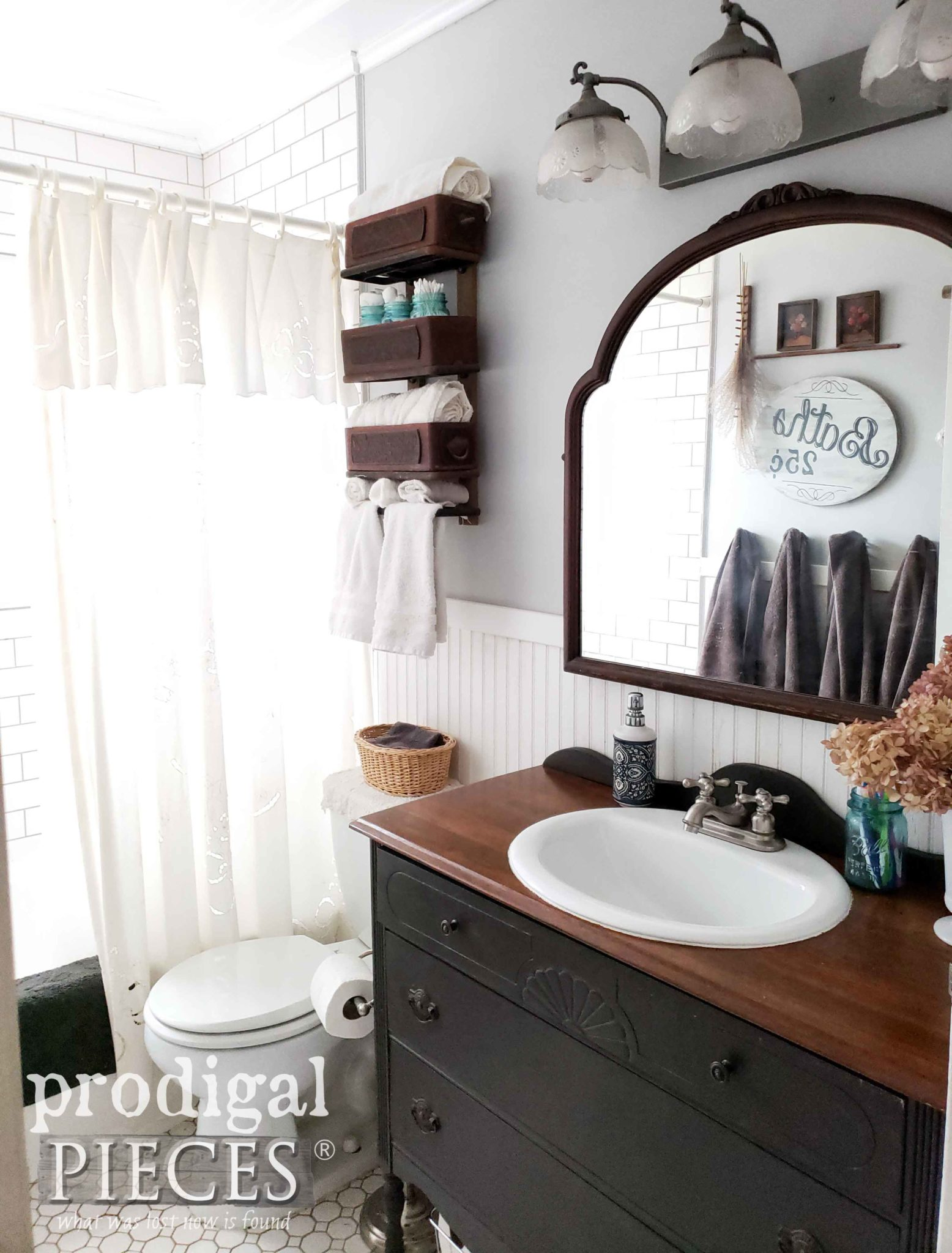 Farmhouse Style Bathroom with Dresser Vanity by Prodigal Pieces | prodigalpieces.com