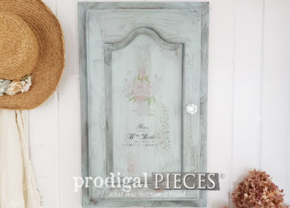 Featured Repurposed Cupboard Door Sample Turned Jewelry Cabinet | DIY details at Prodigal Pieces | prodigalpieces.com