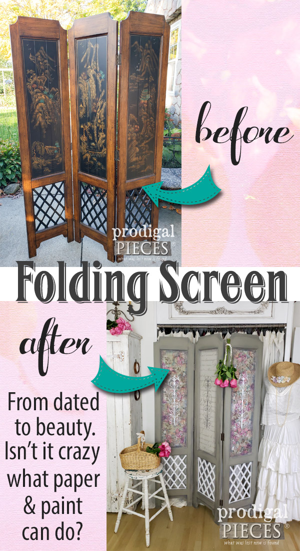 So beautiful! A dated vintage folding screen room divider was transformed with decoupaged paper & paint into romantic chic decor. Full DIY details by Larissa of Prodigal Pieces at prodigalpieces.com #prodigalpieces #diy #handmade #vintage #home #homedecorideas #homedecor #bedroom