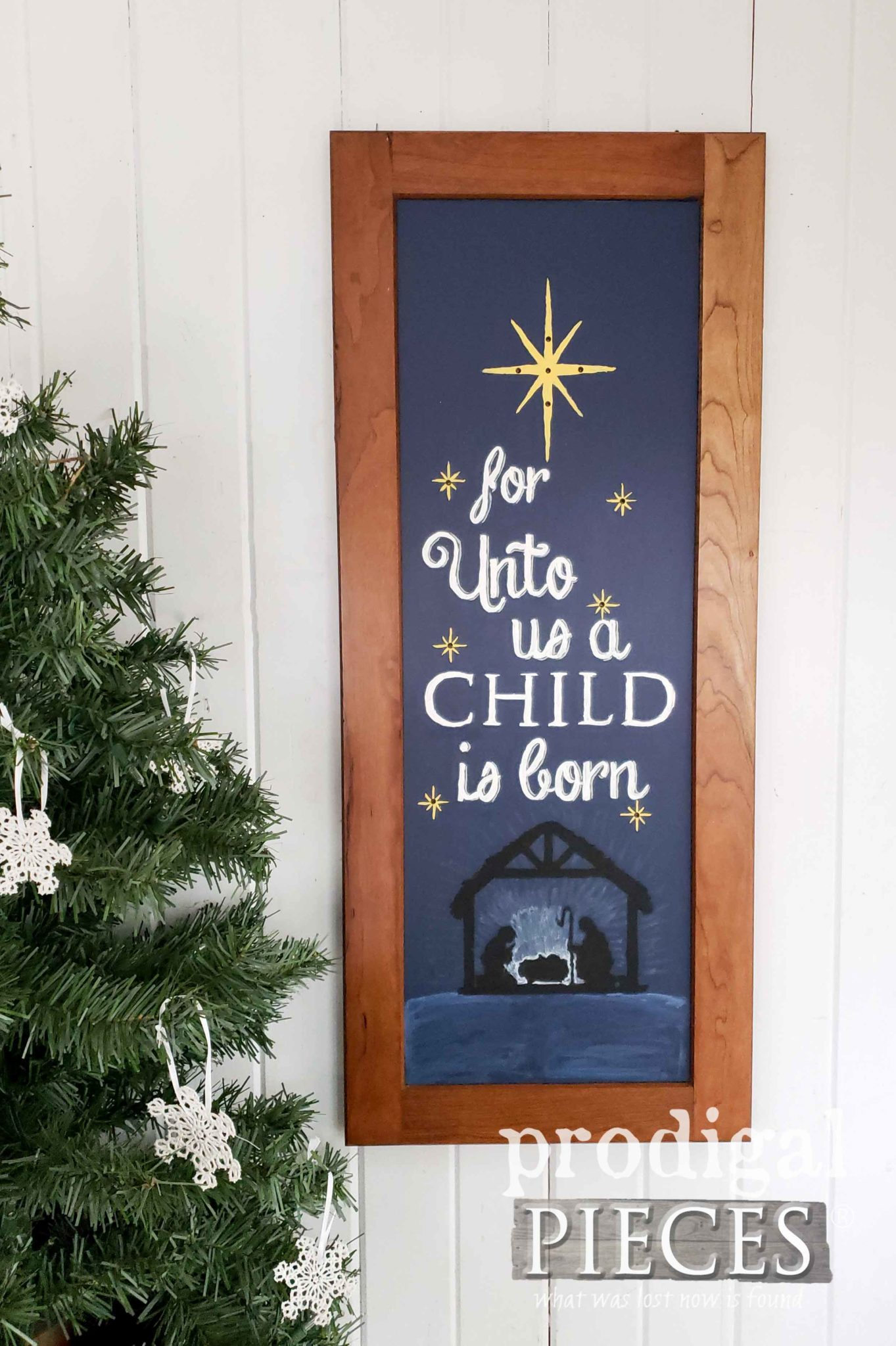 For Unto Us is a Child is Born Wall Art by Prodigal Pieces Kids Create | prodigalpieces.com