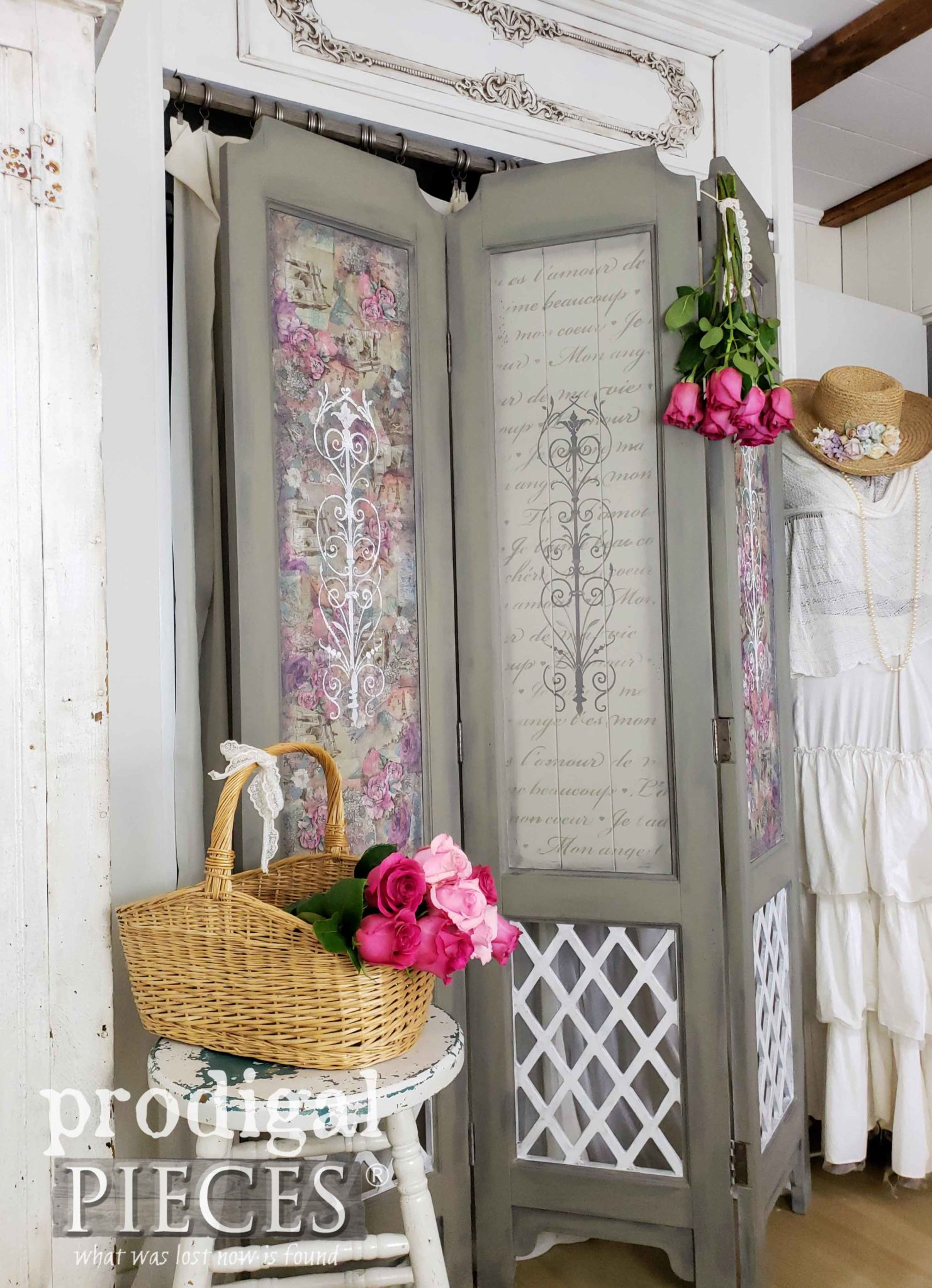 French Script Stencil with Decoupage Accents on Vintage Folding Screen by Larissa of Prodigal Pieces | prodigalpieces.com