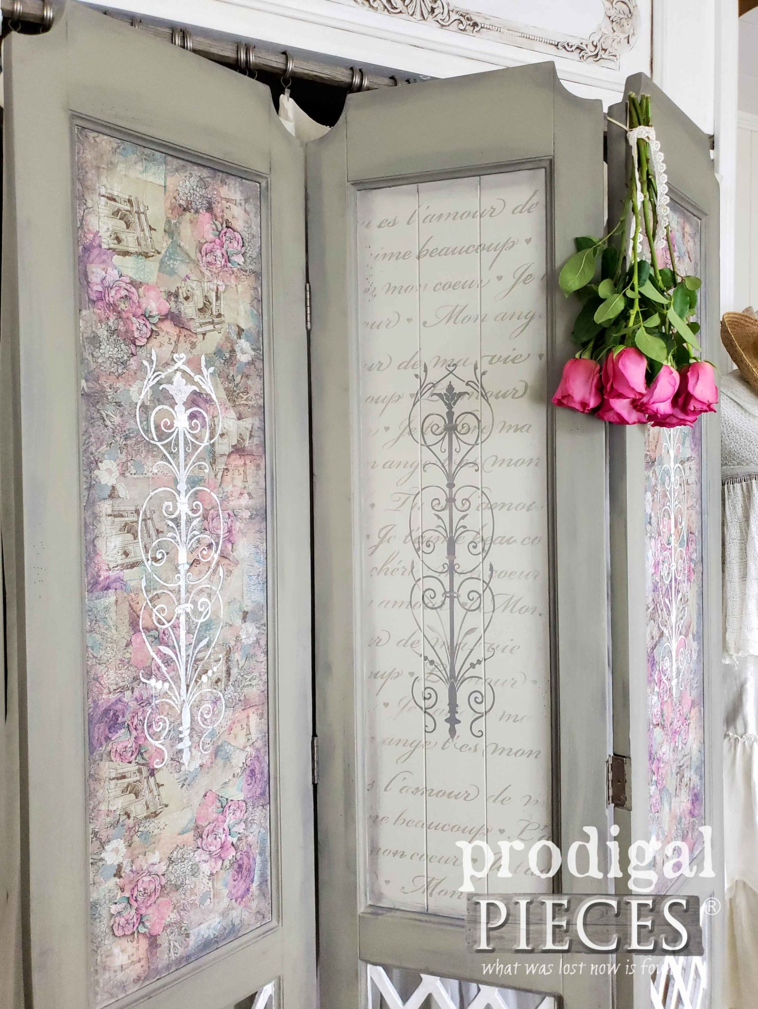Hand-Painted Folding Screen with French Accents by Larissa of Prodigal Pieces | prodigalpieces.com