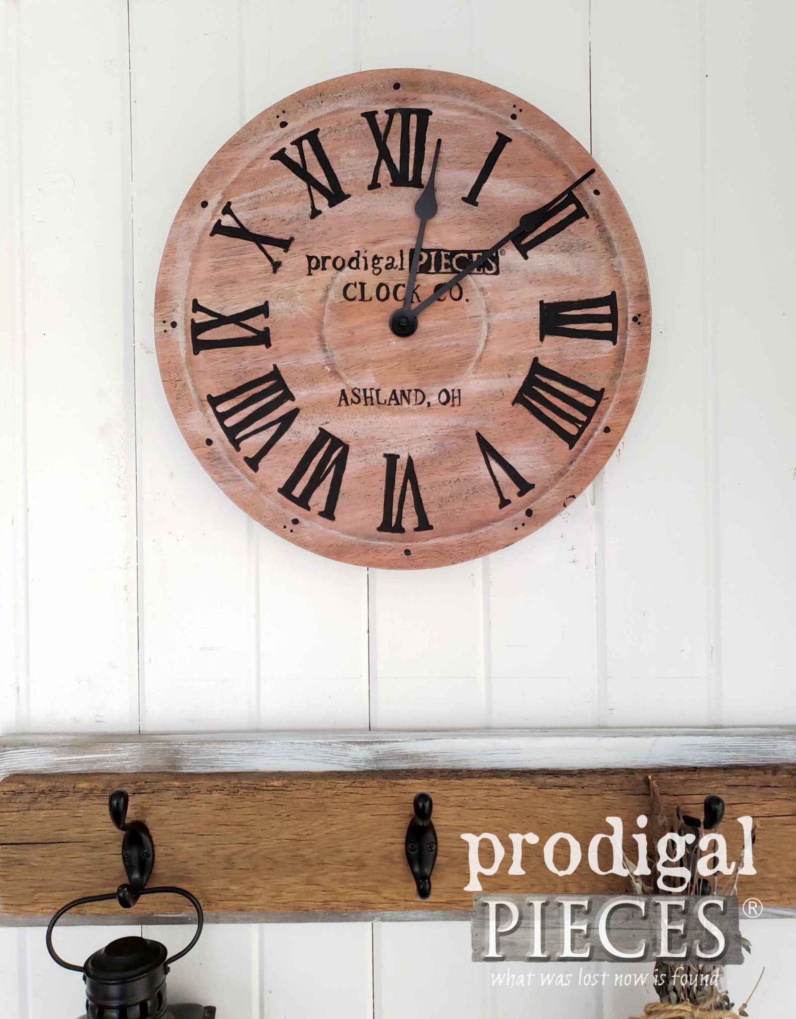 Handmade Wall Clock with Modern Farmhouse Design by Larissa of Prodigal Pieces | prodigalpieces.com