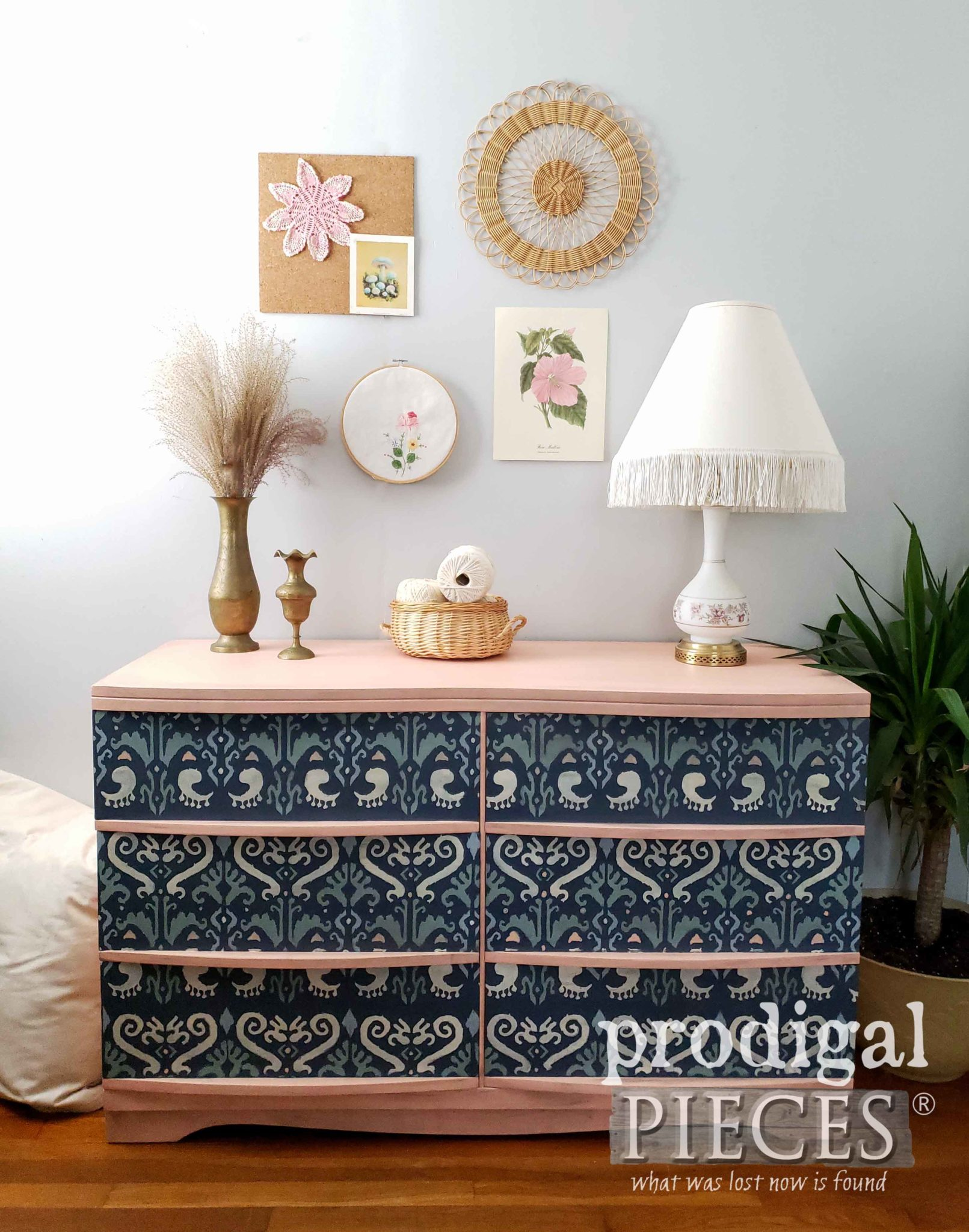 Vintage Ikat Mid Century Modern Dresser in Boho Style | Design by Larissa of Prodigal Pieces | prodigalpieces.com
