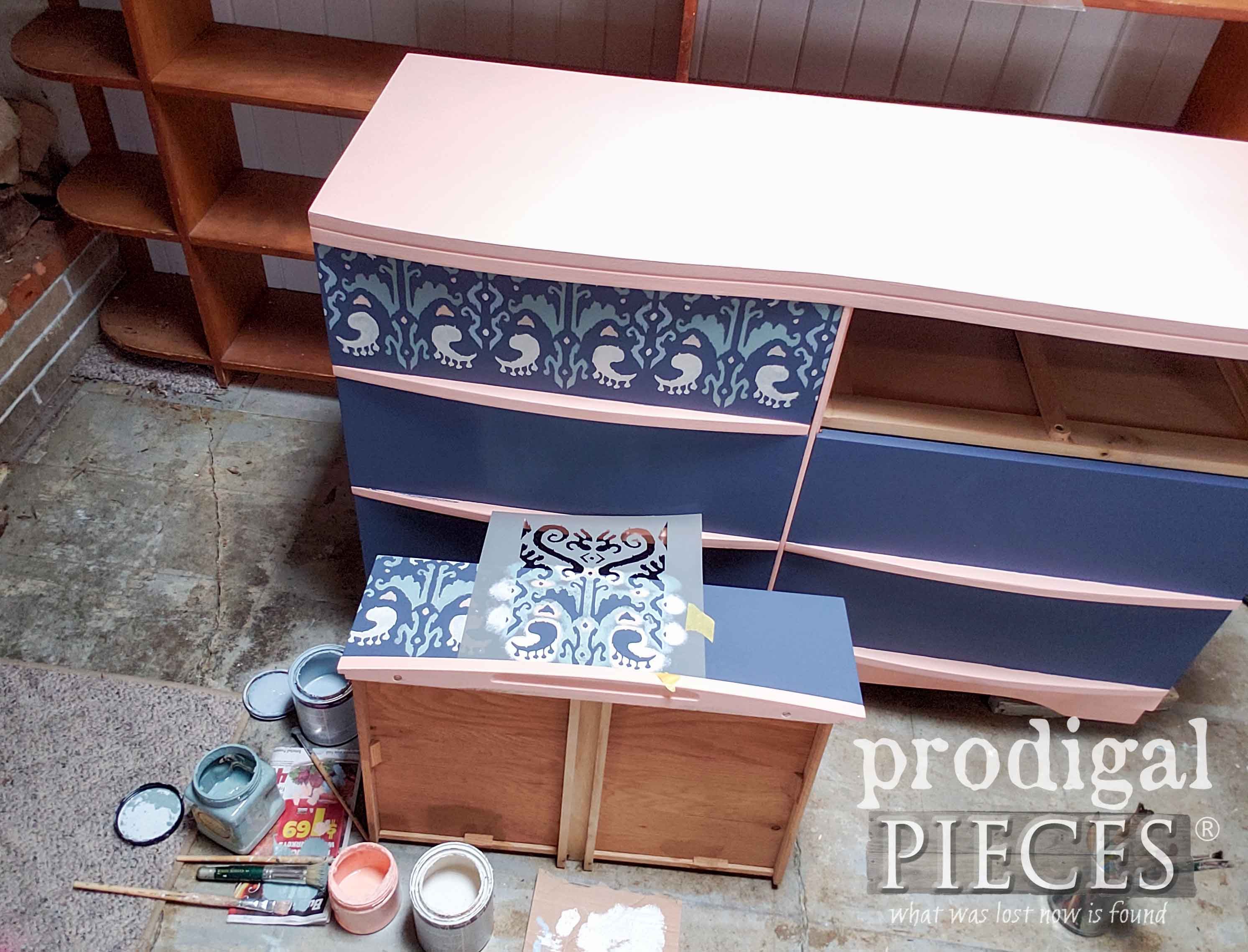 DecoArt Ikat Stencil Being Applied to Mid Century Modern Dresser by Larissa of Prodigal Pieces | prodigalpieces.com