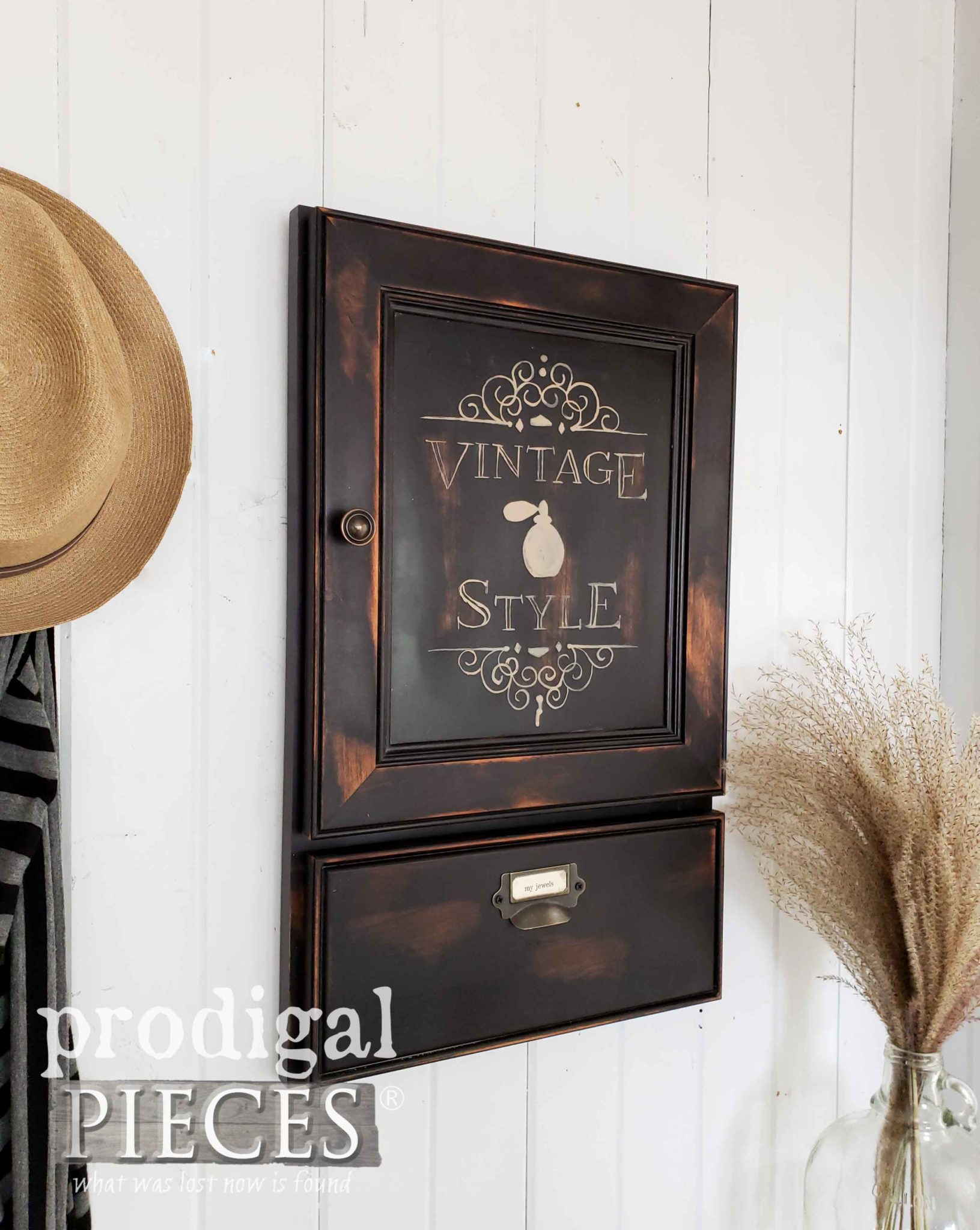 Industrial Vintage Style Jewelry Cabinet with Oodles of Storage | Created by Larissa of Prodigal Pieces | prodigalpieces.com