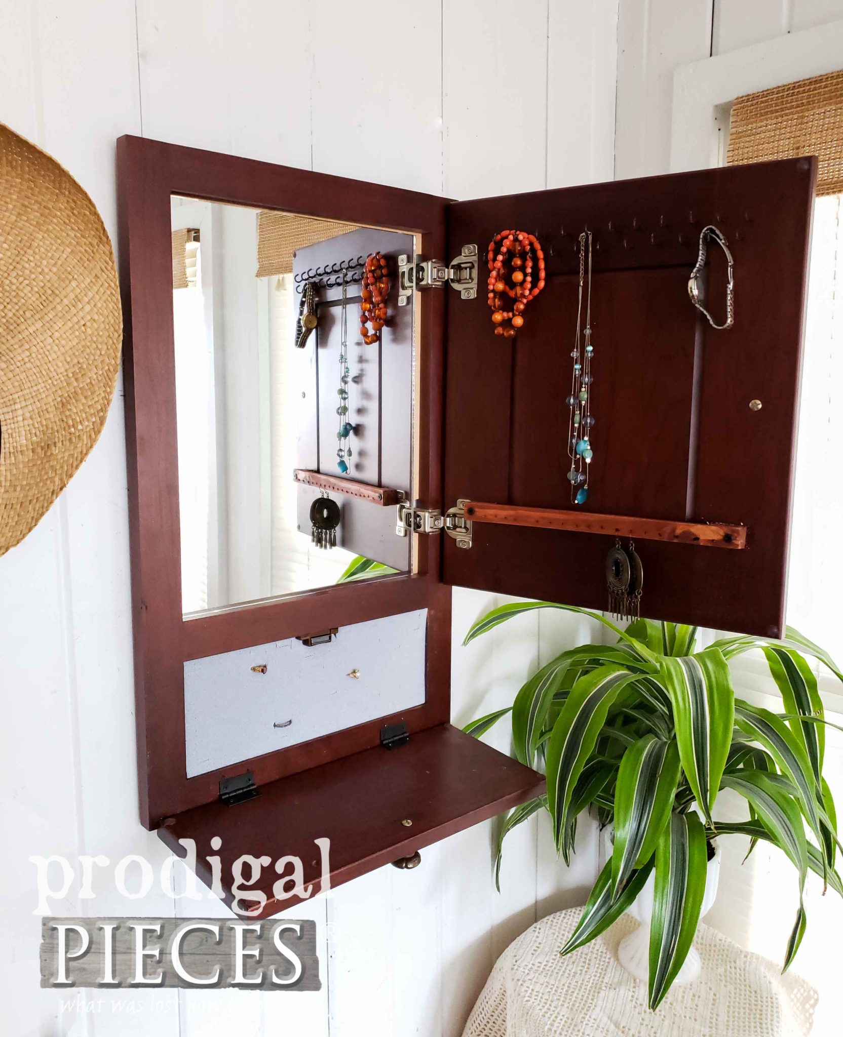 Inside of French Country Jewelry Cabinet by Prodigal Pieces | prodigalpieces.com