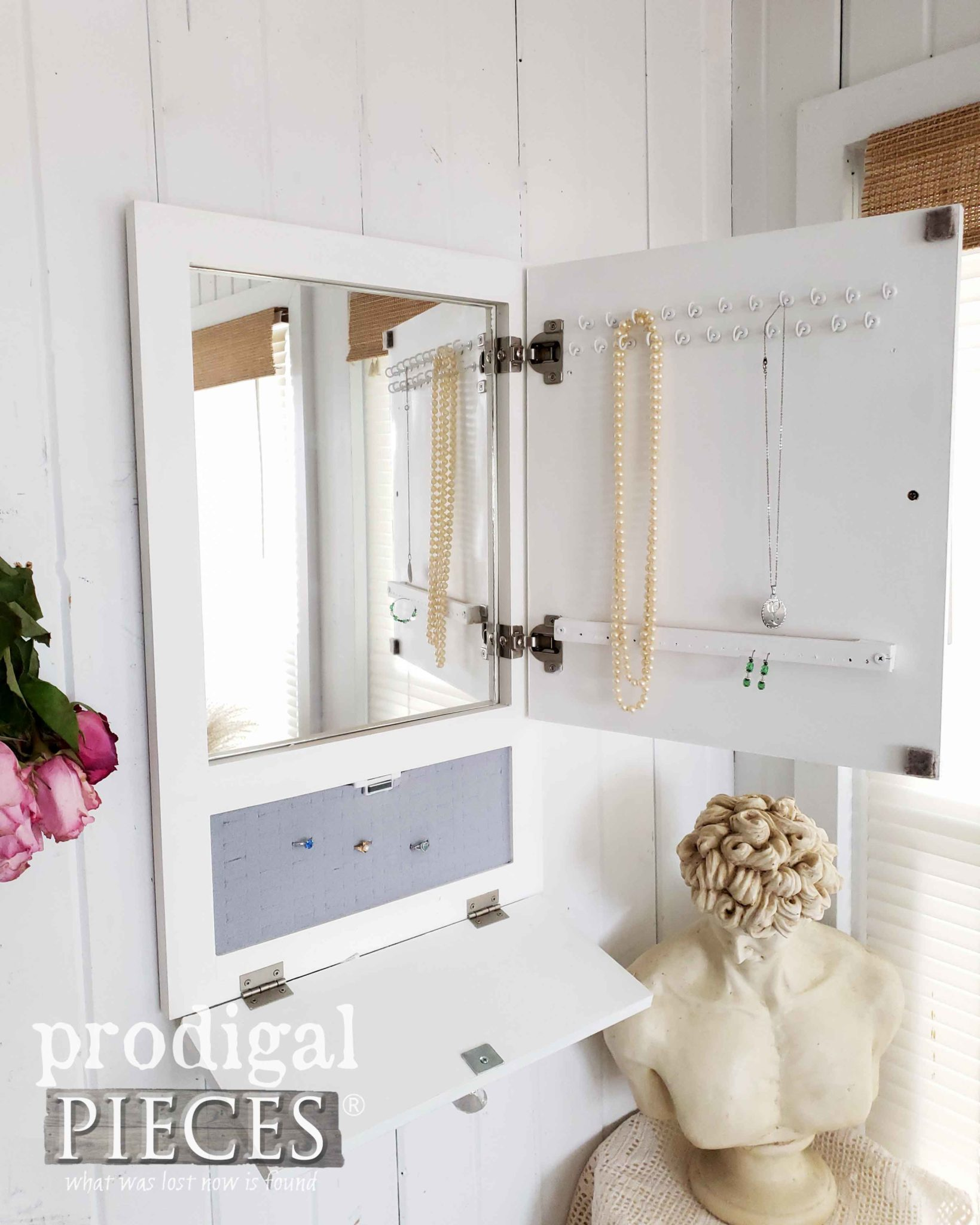 Inside Look of this Repurposed Cupboard Door Jewelry Cabinet | Storage for Necklaces, bracelets, watches, earrings, rings and more. | Prodigal Pieces | prodigalpieces.com