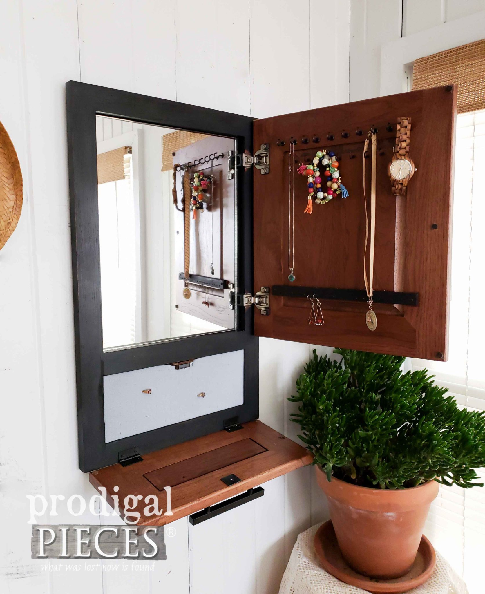Inside Modern Farmhouse Jewelry Cabinet by Prodigal Pieces | prodigalpieces.com
