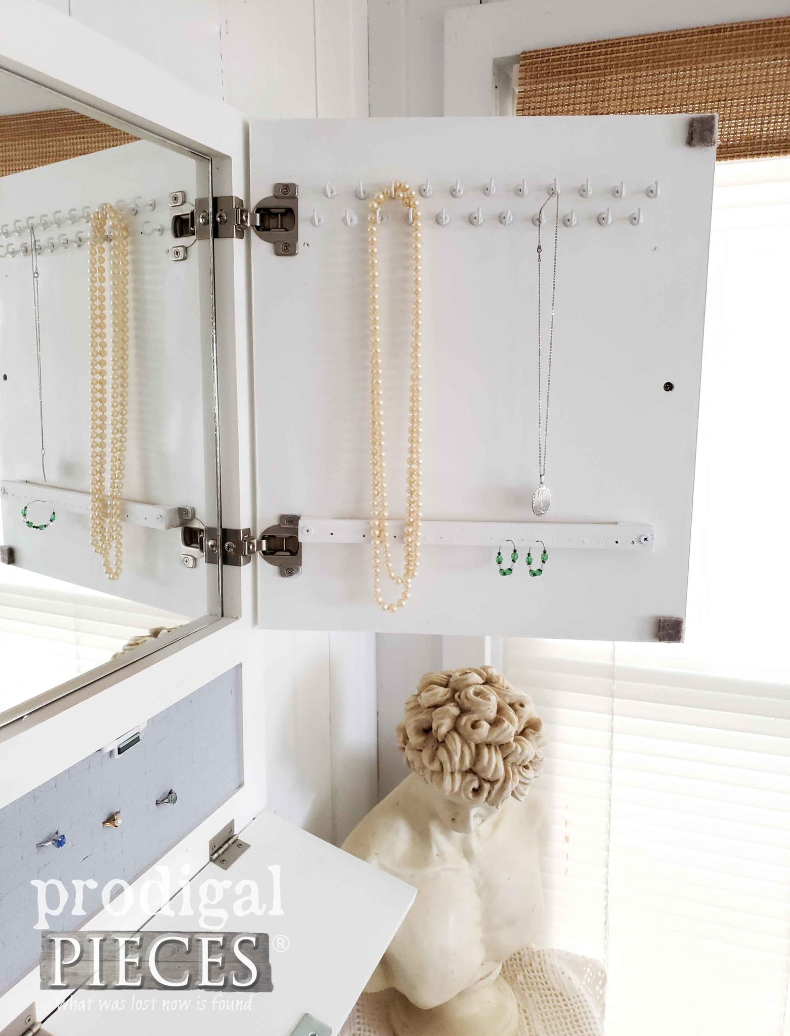 Inside White Jewelry Cabinet Made from Repurposed Cupboard Door by Larissa of Prodigal Pieces | prodigalpieces.com