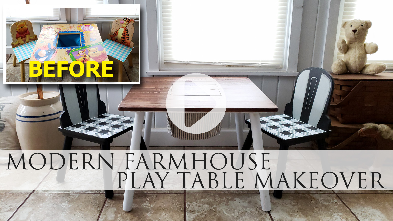 DIY Video Tutorial for Kids Farmhouse Table Makeover by Larissa of Prodigal Pieces | prodigalpieces.com #prodigalpieces