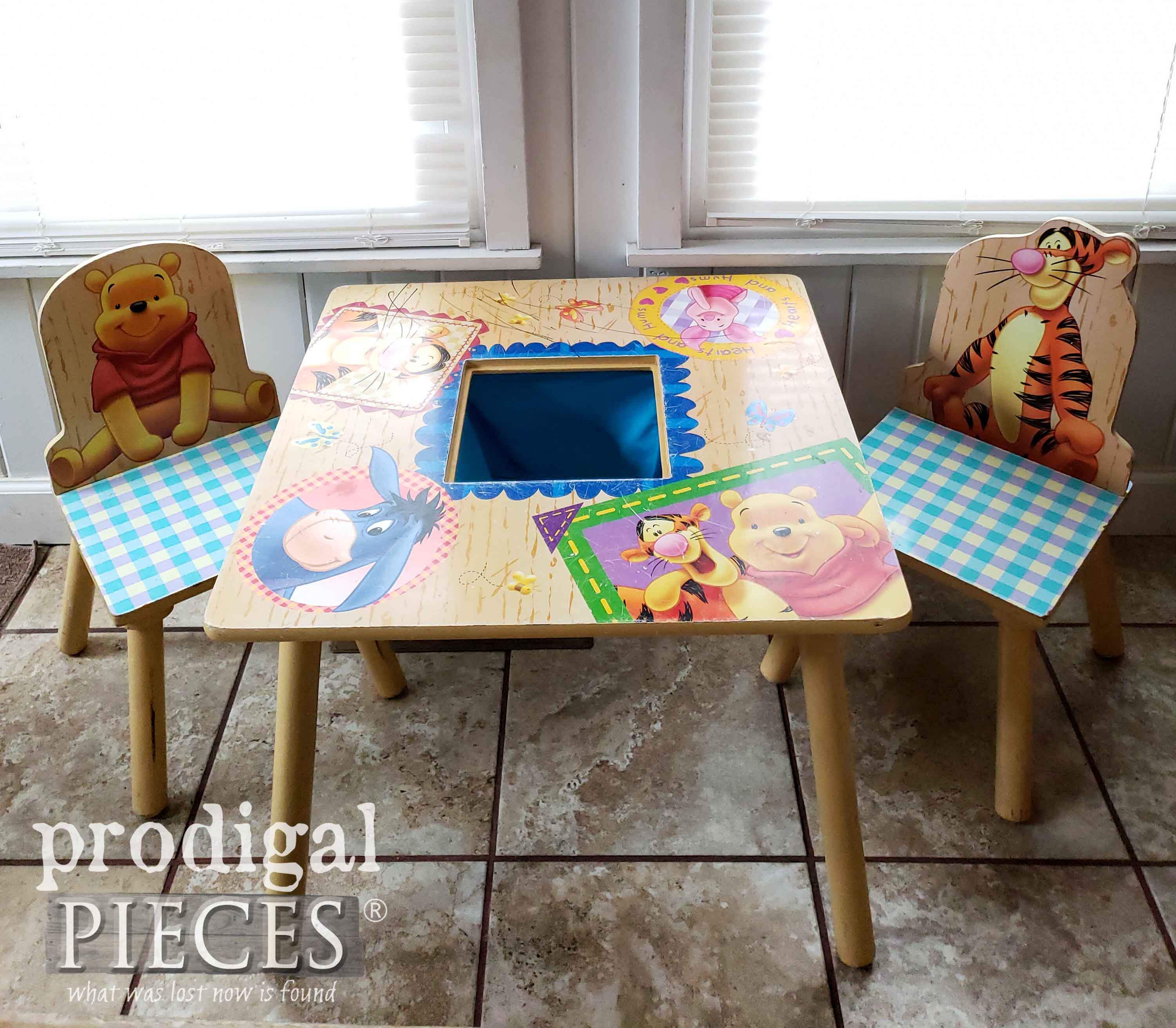 Winne the Pooh Kids Play Table Before Makeover by Prodigal Pieces | prodigalpieces.com