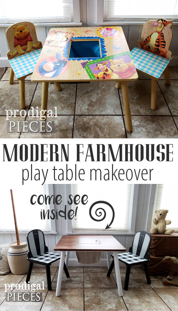 Sweet! A worn out Winnie the Pooh Kids Play Table gets cute Modern Farmhouse Makeover by Larissa of Prodigal Pieces | Check out the DIY Video Tutorial at prodigalpieces.com #prodigalpieces #kids #play #home #homedecor #homedecorideas #handmade #gifts #giftideas #furniture