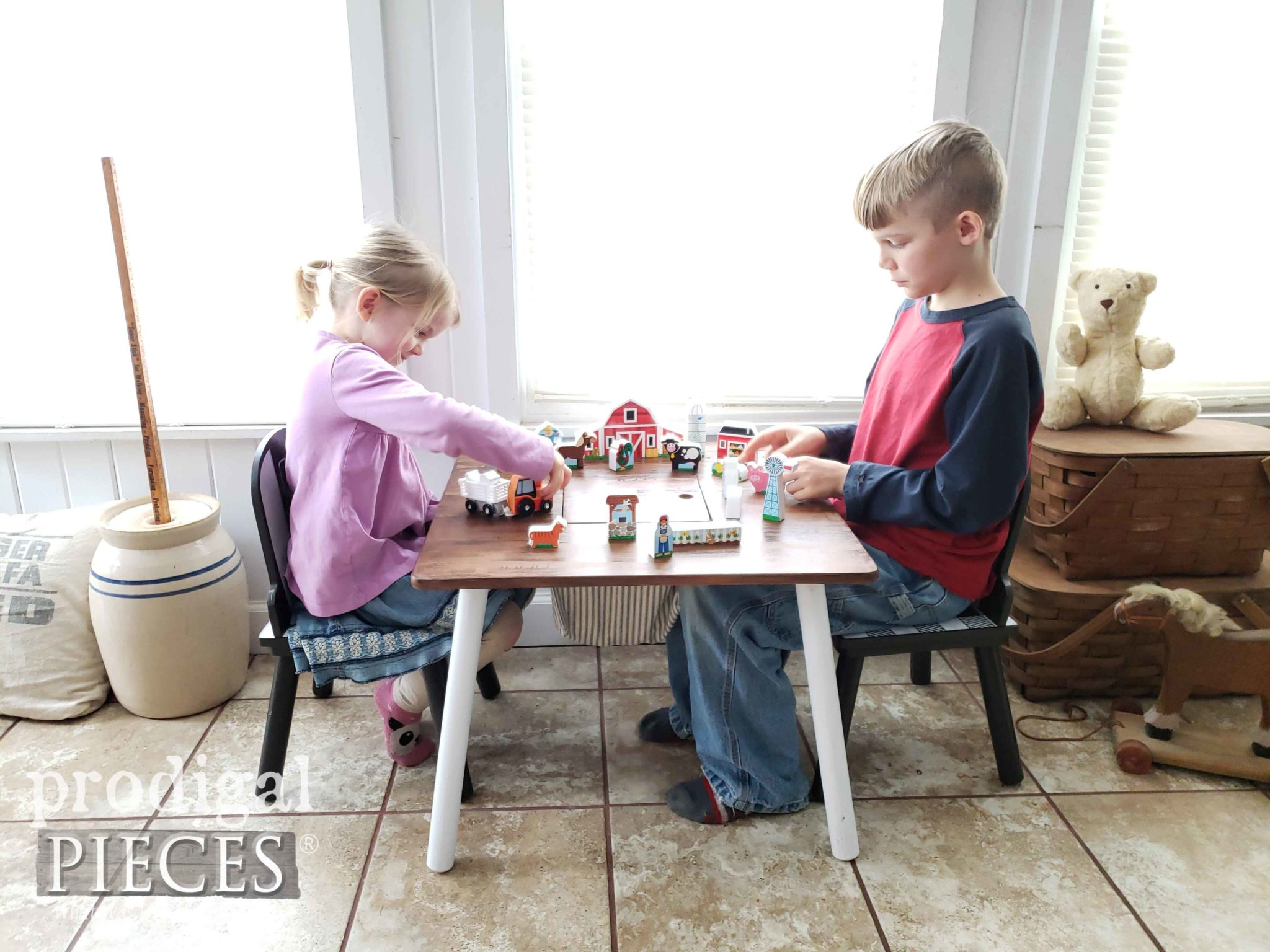 Mini Farmhouse Kids Play Table with Farm Play Set by Larissa of Prodigal Pieces | prodigalpieces.com