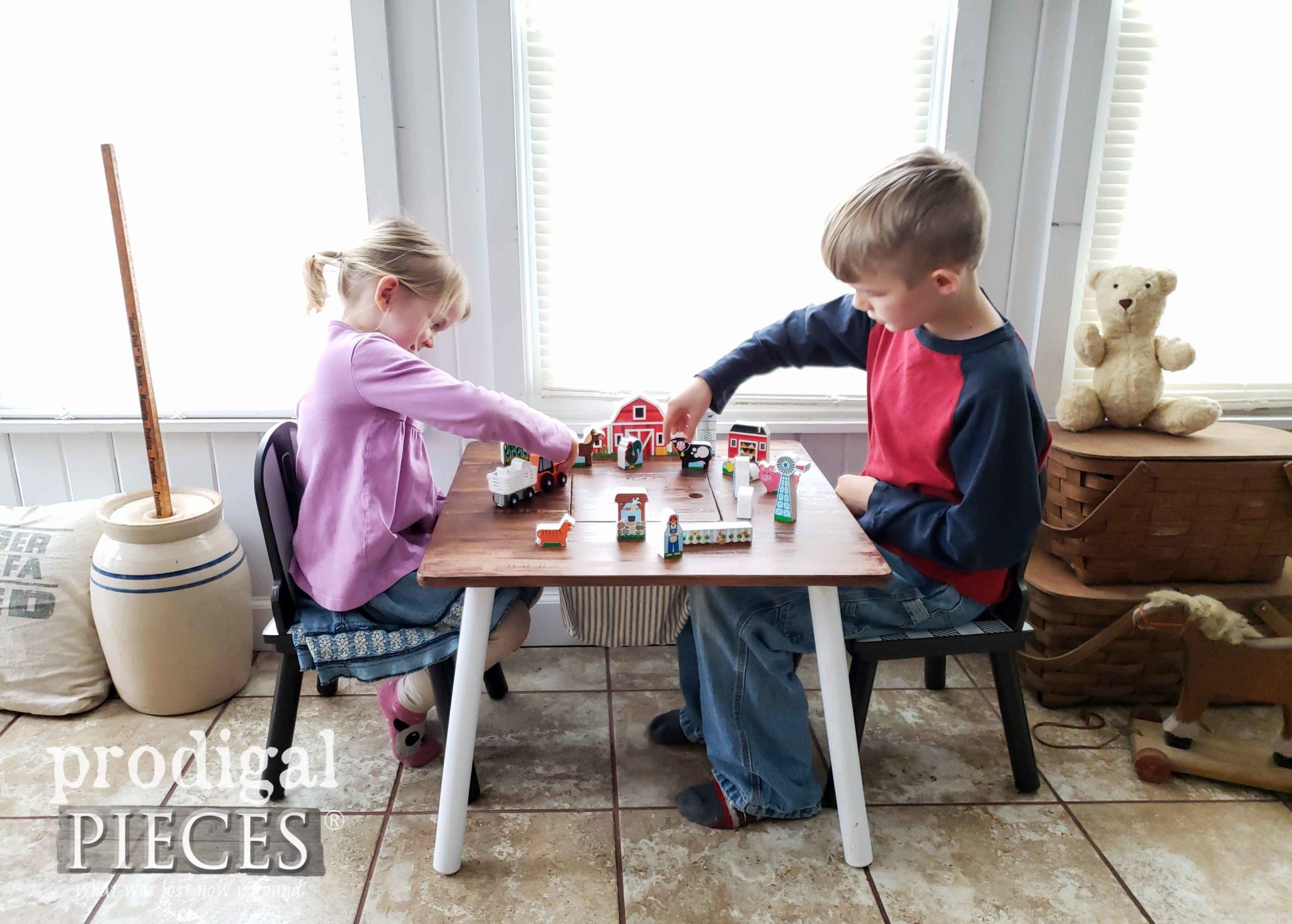 Kids Playing with an Adorable Modern Farmhouse Makeover of a Winnie the Pooh Play Table by Larissa of Prodigal Pieces | prodigalpieces.com