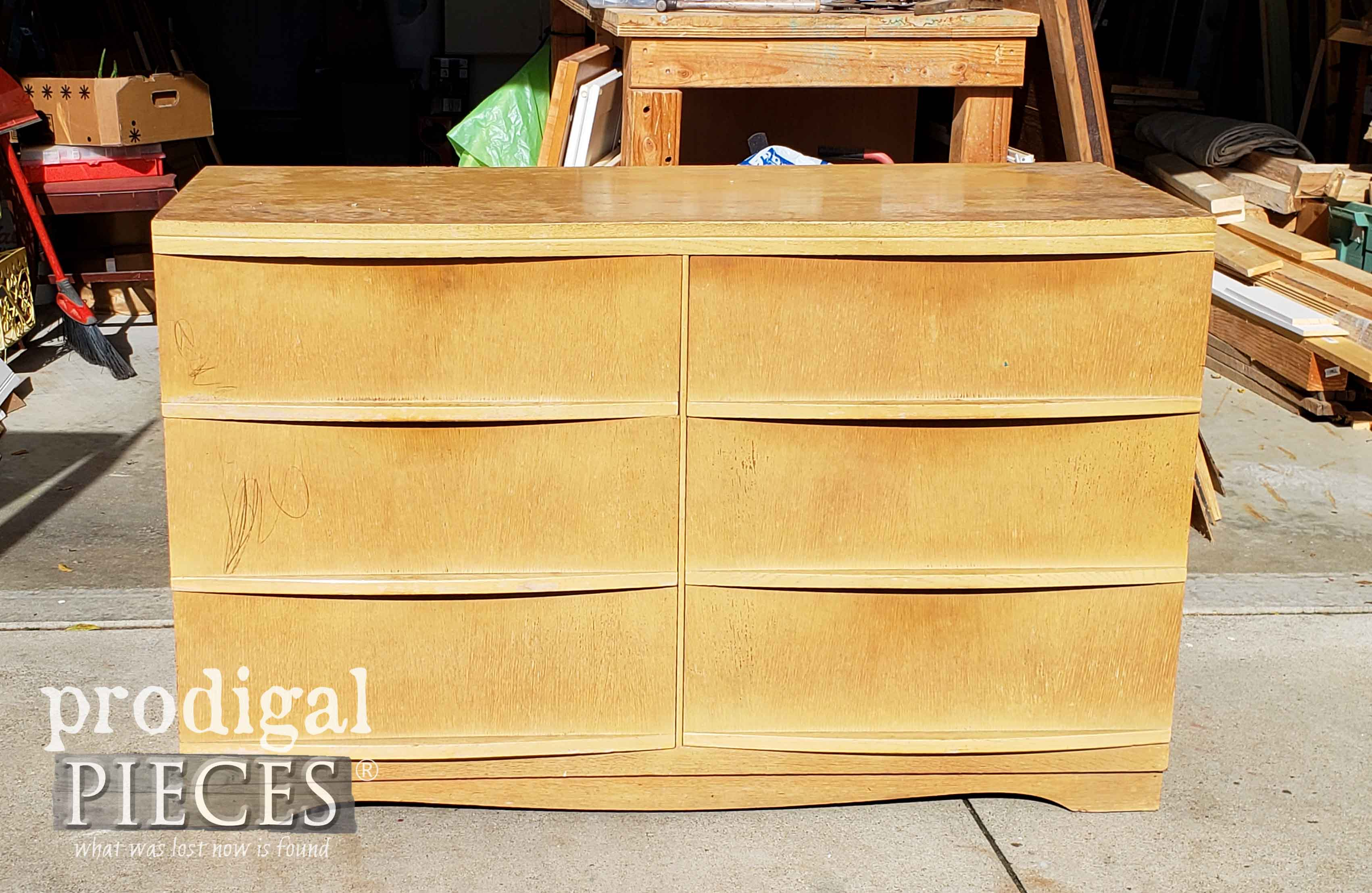 Vintage Mid Century Harmony House Dresser Before Makeover