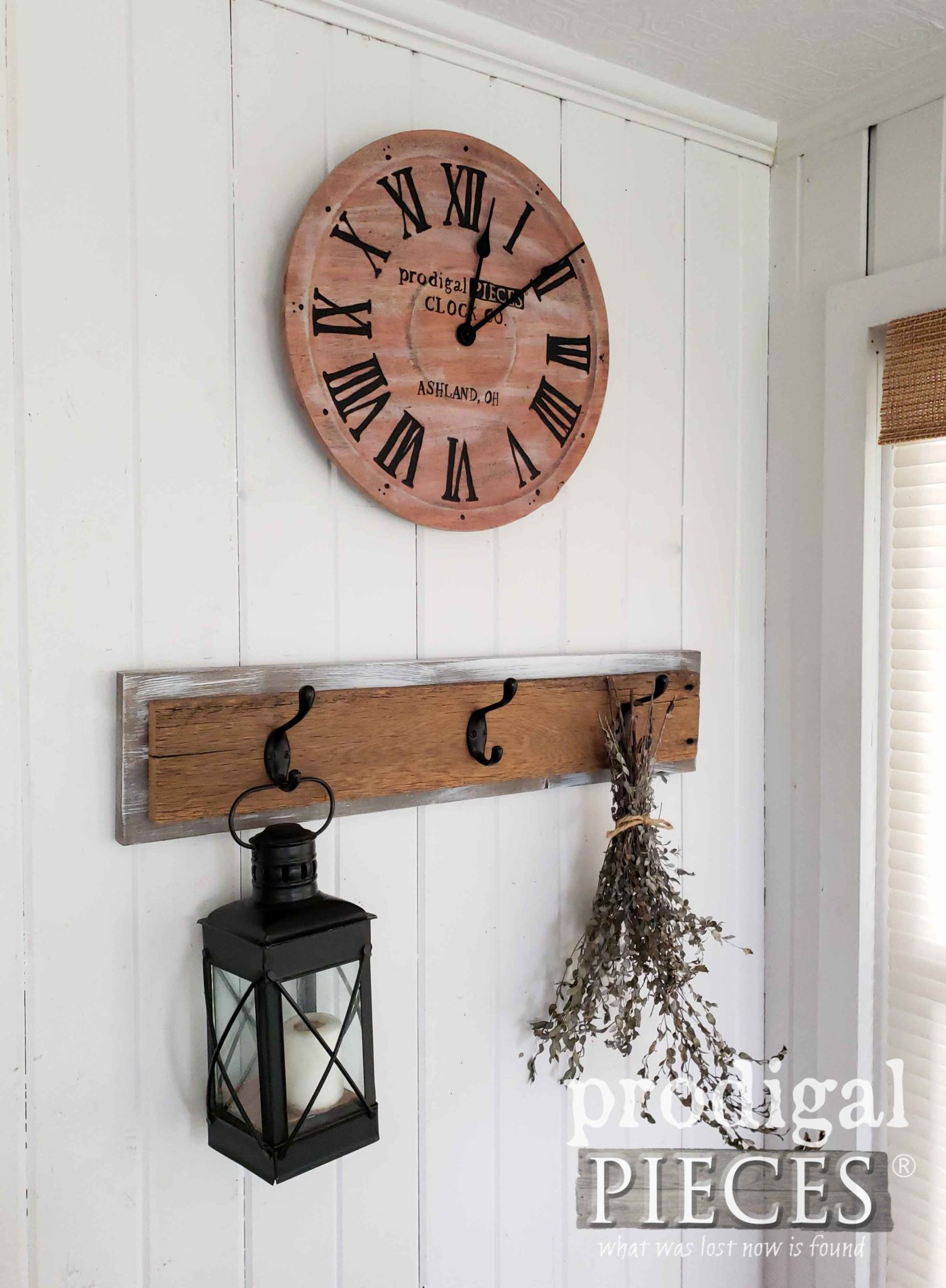 Modern Farm Vignette with Handmade Wall Clock by Larissa of Prodigal Pieces | prodigalpieces.com