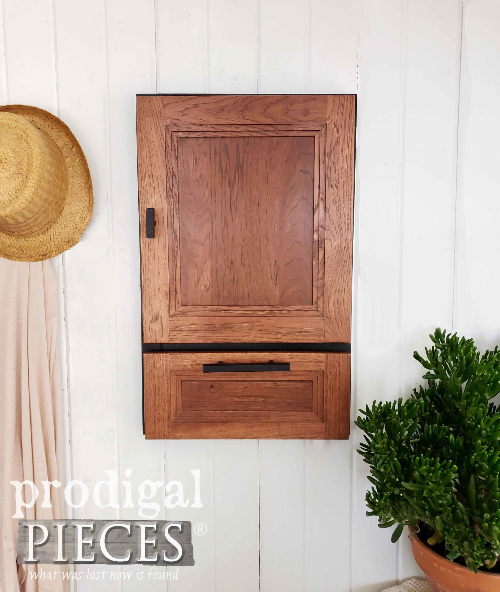 Handmade Modern Farmhouse Jewelry Cabinet from Repurposed Cupboard Door Sample by Larissa of Prodigal Pieces | prodigalpieces.com