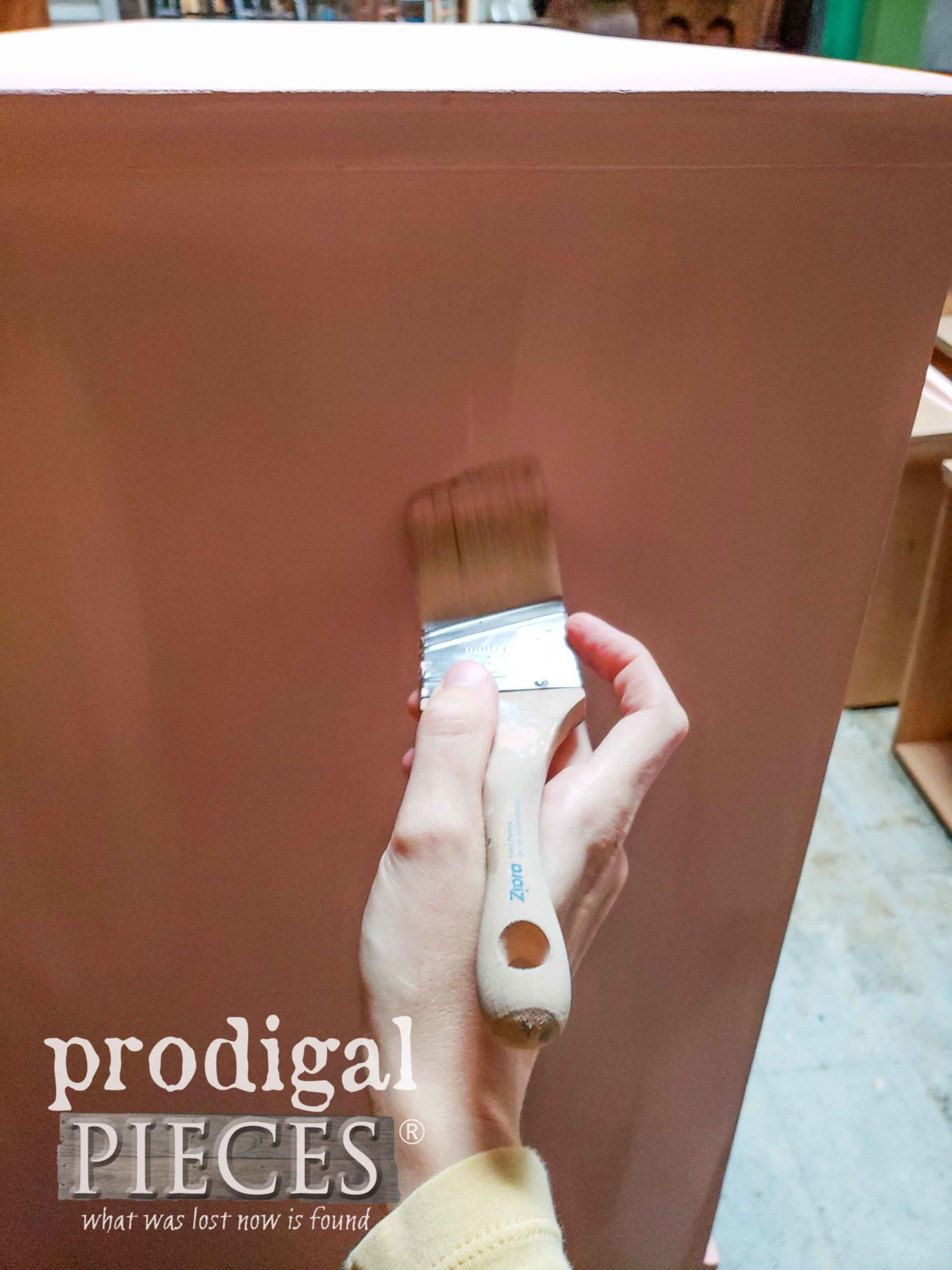 Painting with Zibra Stubby Brush on Mid Century Dresser by Prodigal Pieces | prodigalpieces.com
