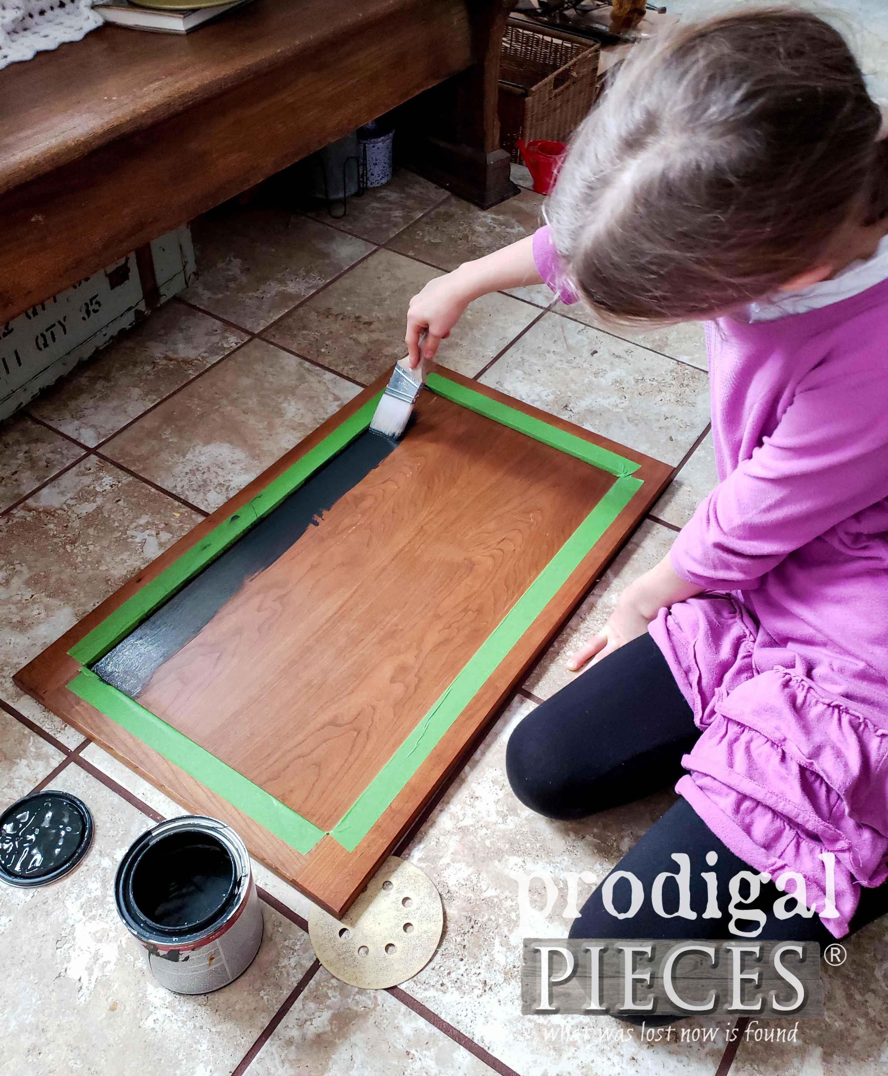 Painting Chalkboard Cupboard Door | prodigalpieces.com