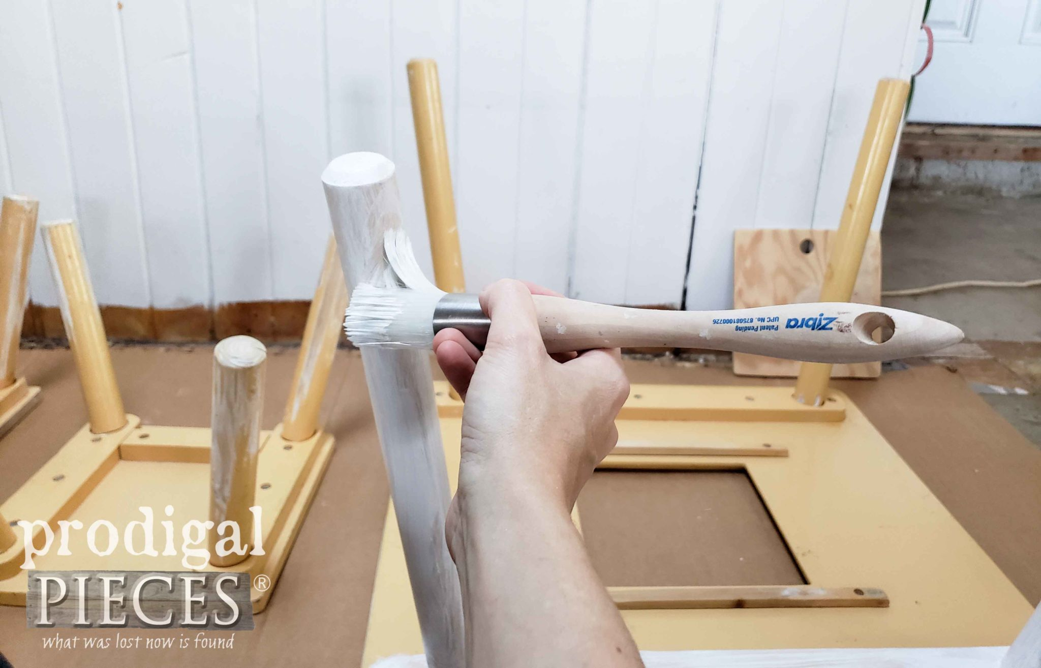 Priming Kids Play Table Legs with Gripper Primer and Zibra Round Brush | prodigalpieces.com