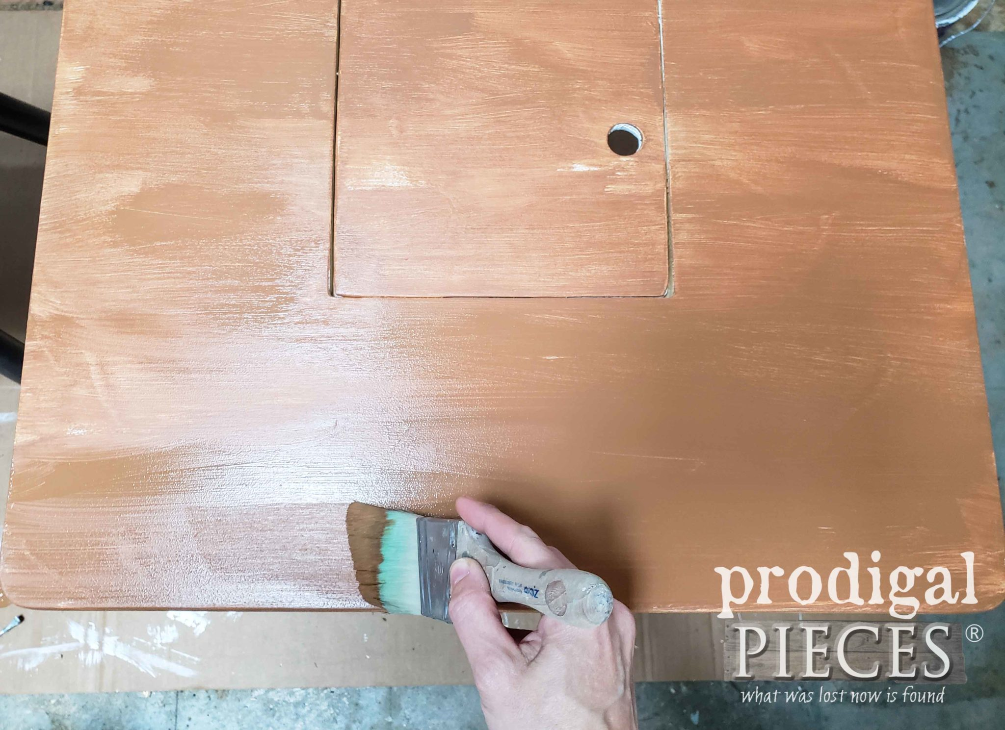 Painting Faux Wood Table Top | prodigalpieces.com